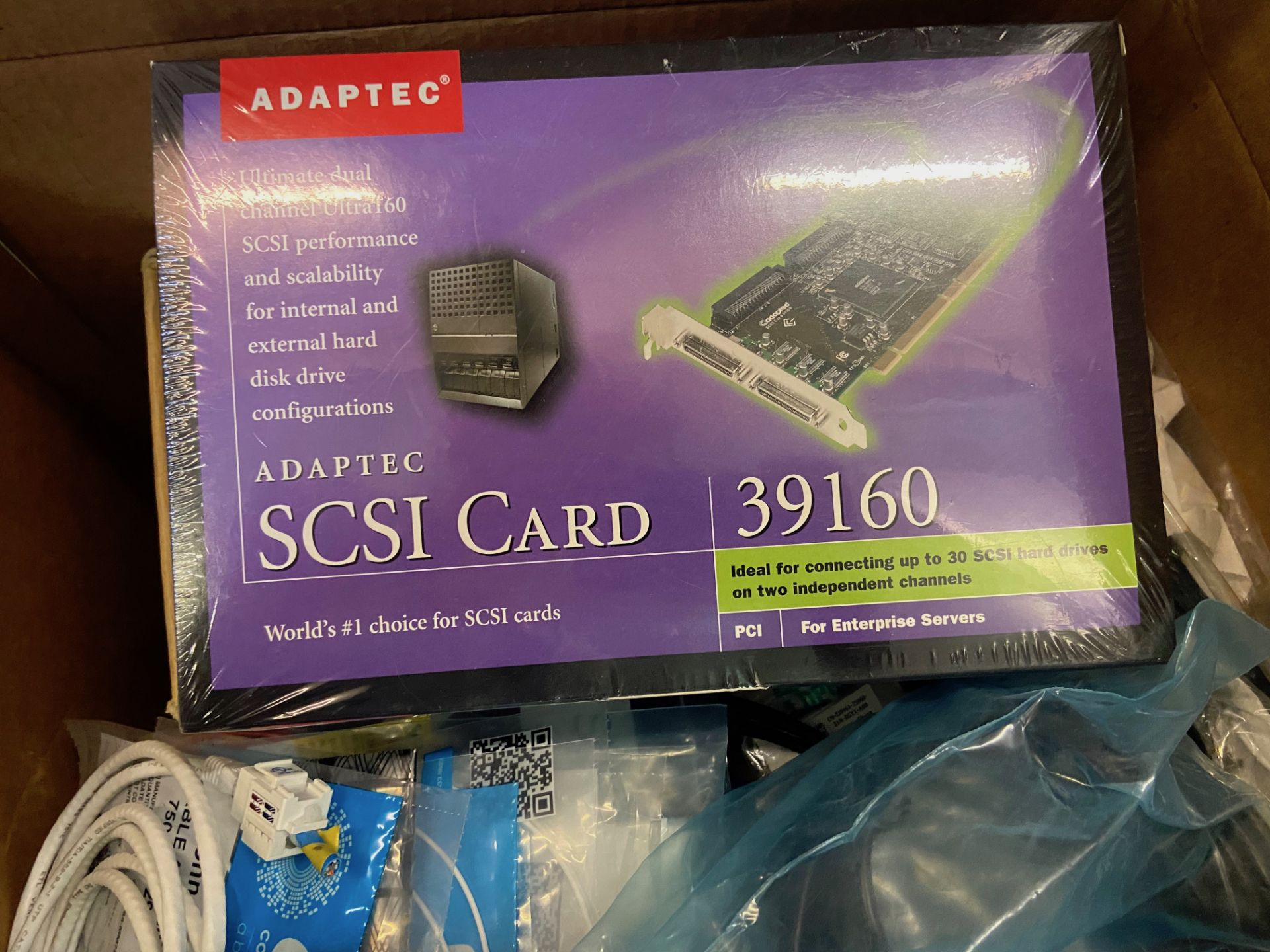 Box of Miscellaneous Computer Electronics Components, Includes: Adaptec SCSI Card 39160; - Image 2 of 9