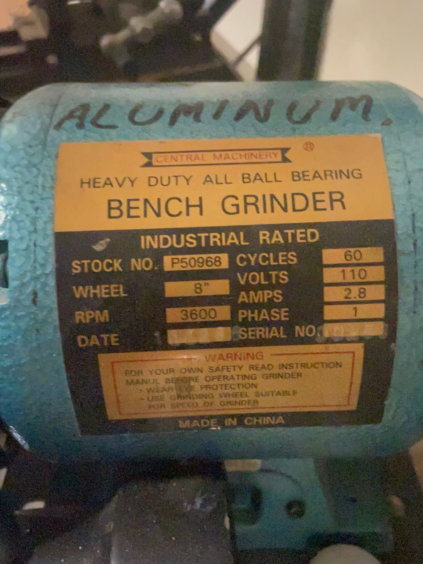 Central Machinery Heavy Duty Bench Grinder, Stock# P50968, 110V, 3600 RPM, Loading/Removal Fee: $25 - Image 3 of 4