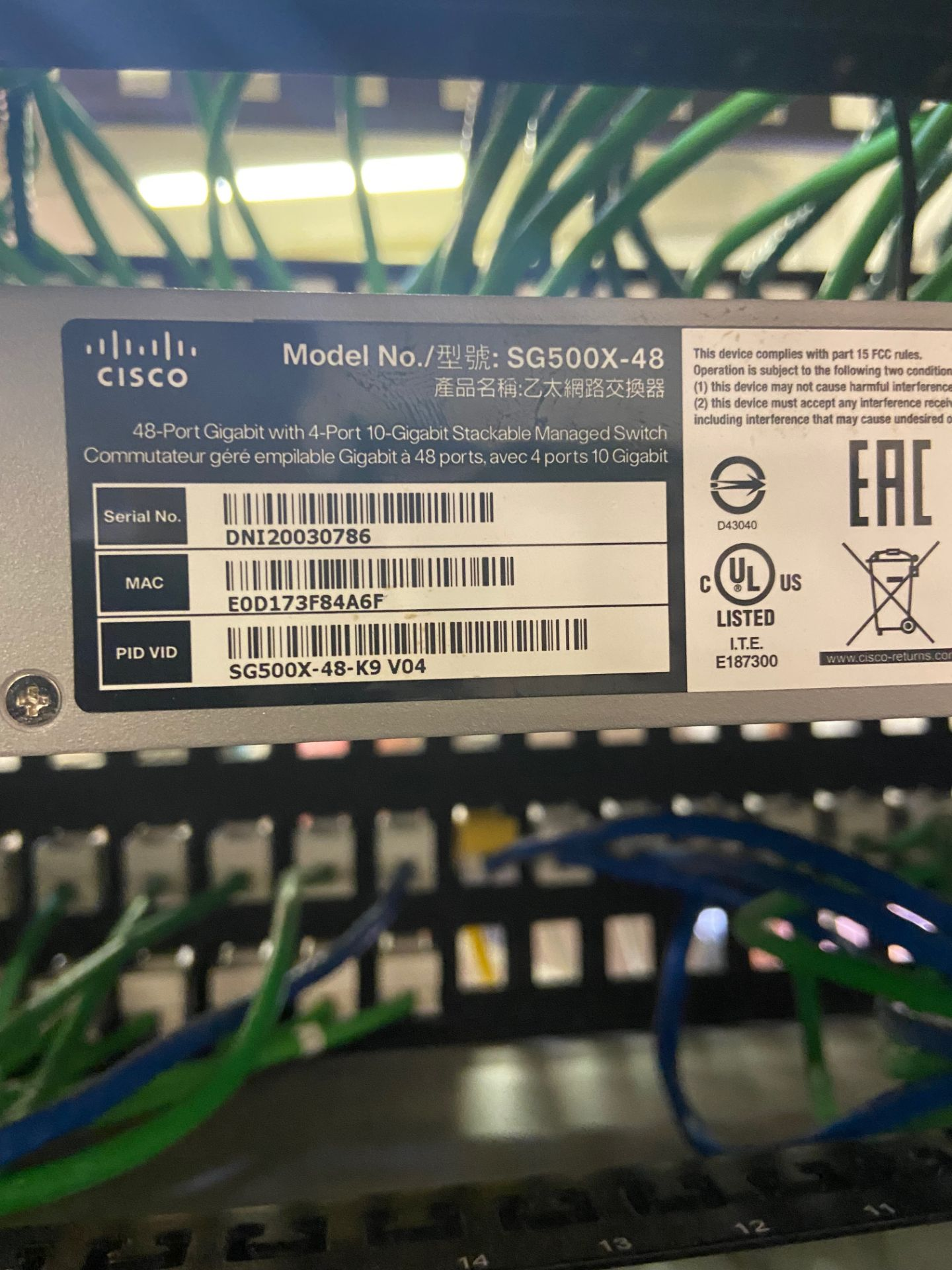 Lab Ethernet Connectivity Hub, SFP Interconnected, Qty 3: Cisco 52-Port Gigabit Stackable Manged - Image 9 of 12