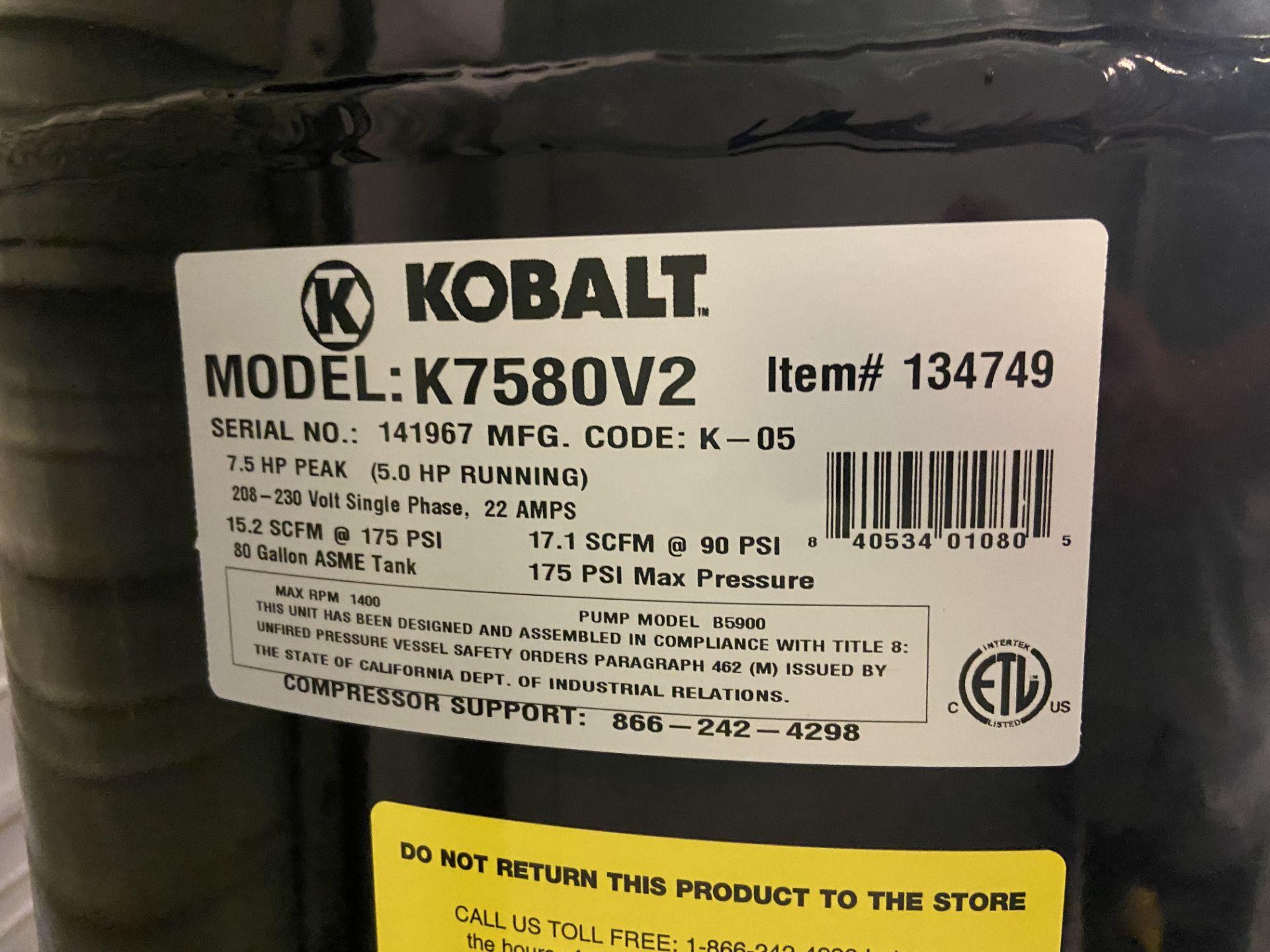 Kobalt Air Compressor, Model# K7580V2, Serial# 141967, 7.5 HP Peak (5 HP Running), 175 Max PSI, - Image 2 of 4