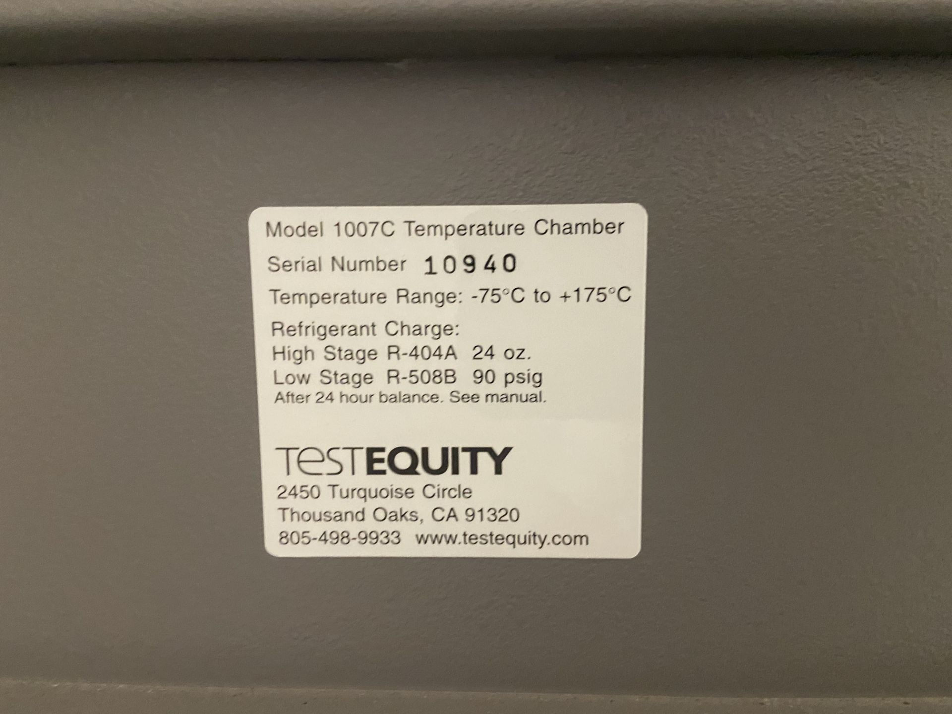 TestEquity Temperature Chamber, Model# 1007C, Serial# 10940, Temp Range: -75C to +175C, 208V, Single - Image 9 of 12