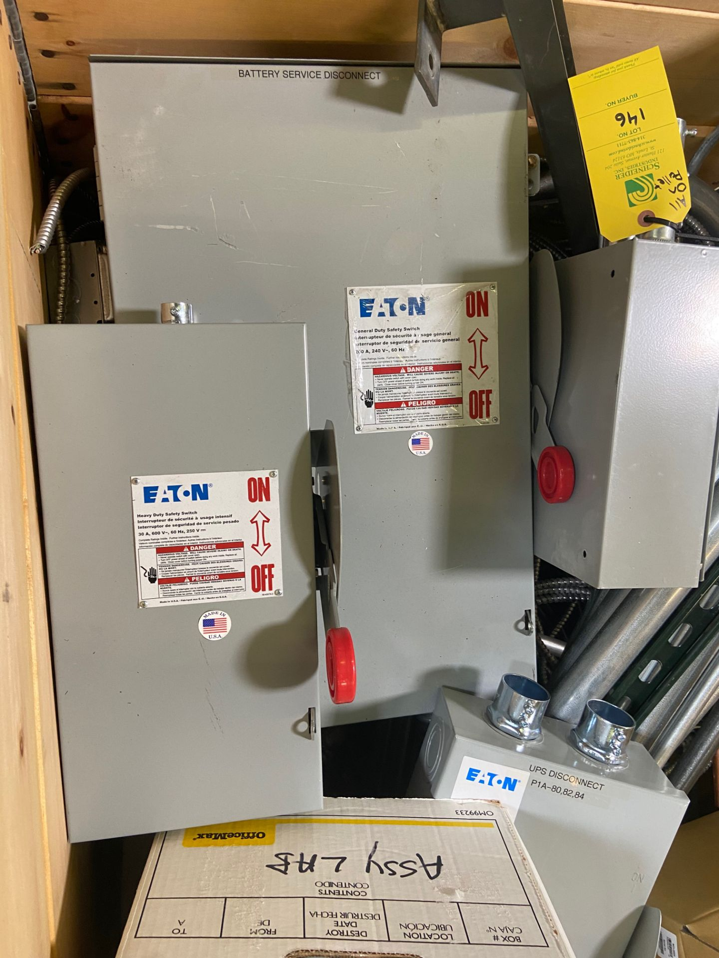 Pallet of Electrical Components, Includes: (SEE PHOTOS FOR ALL INCLUDED) Eaton Heavy Duty Safety - Image 5 of 19