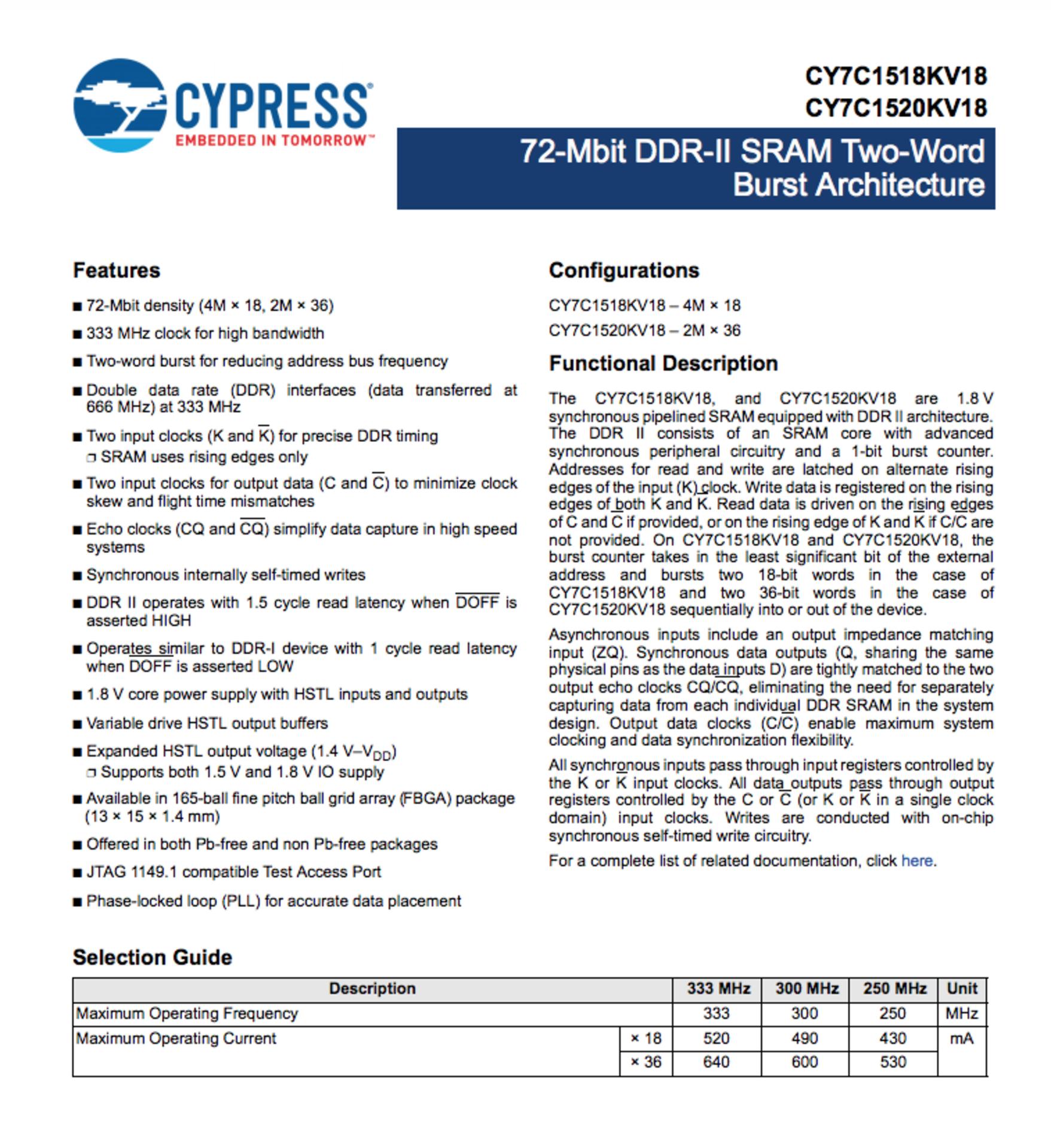 Cypress CY7C1520KV18-300BZXI, SRAM Chip Sync Single 1.8V 72M-bit 2M x 36 0.45ns - Image 4 of 5