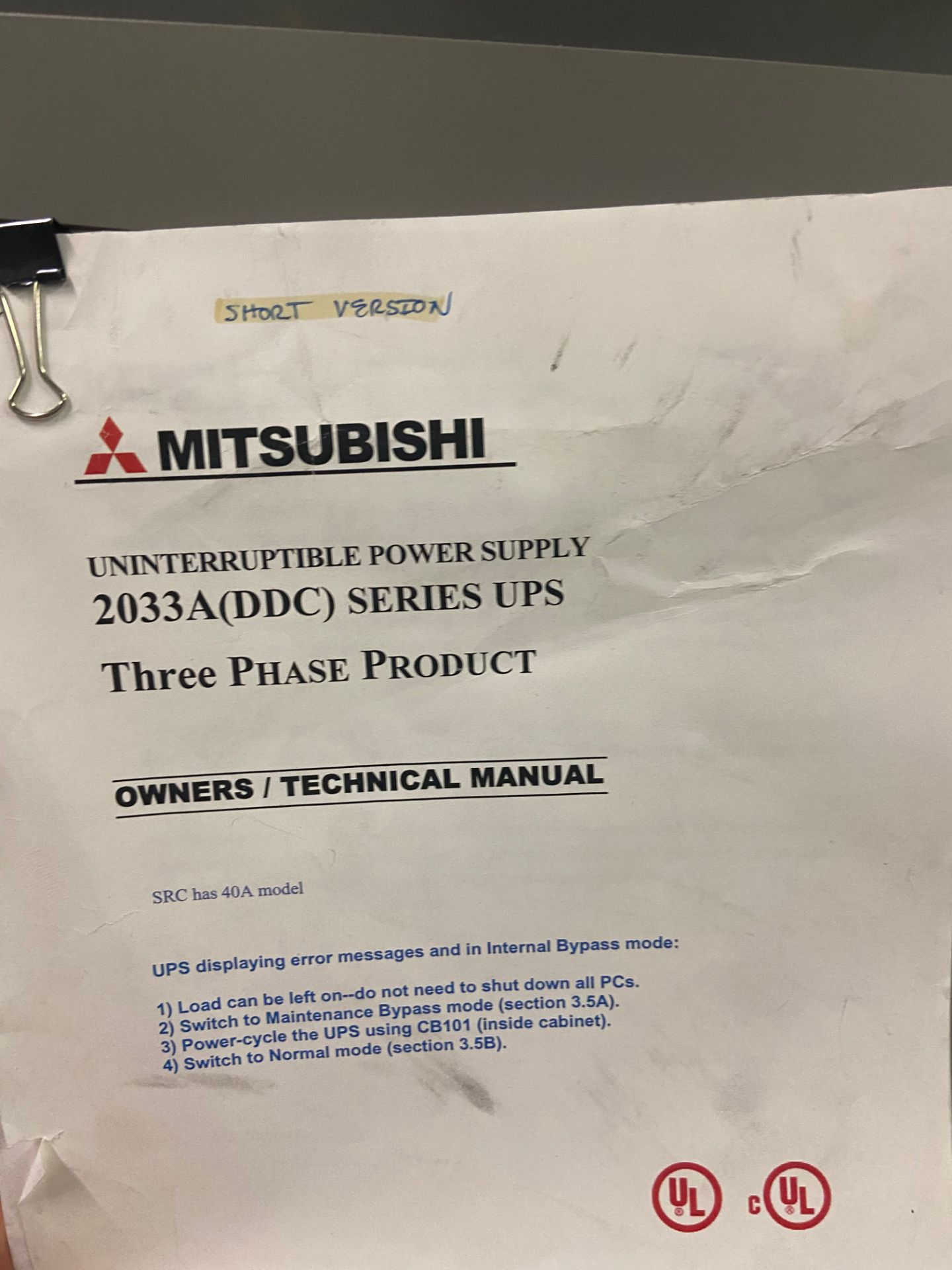 Mitsubishi Uninterruptible Power Supply, 2033A Series, Type UP2033A-B403SU-2, Serial# 96-GC8YQI-04, - Image 3 of 6