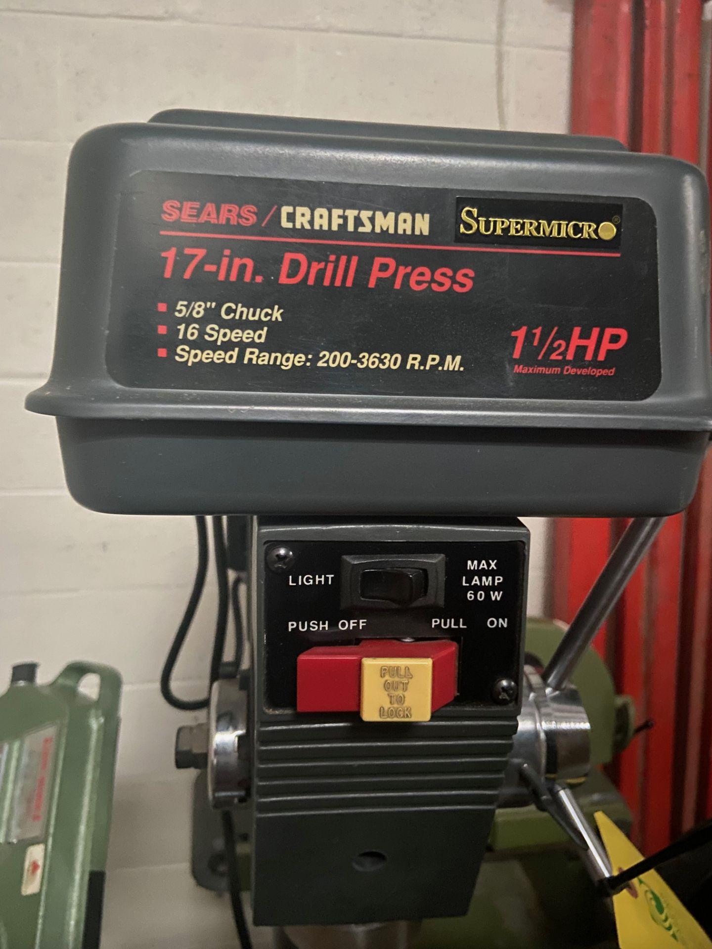 "Sears/Craftsman 17"" Drill Press, 5/8"" Chuck, 200-3630 RPM, Model# 113.213171, Serial# 961870038, - Image 3 of 6"