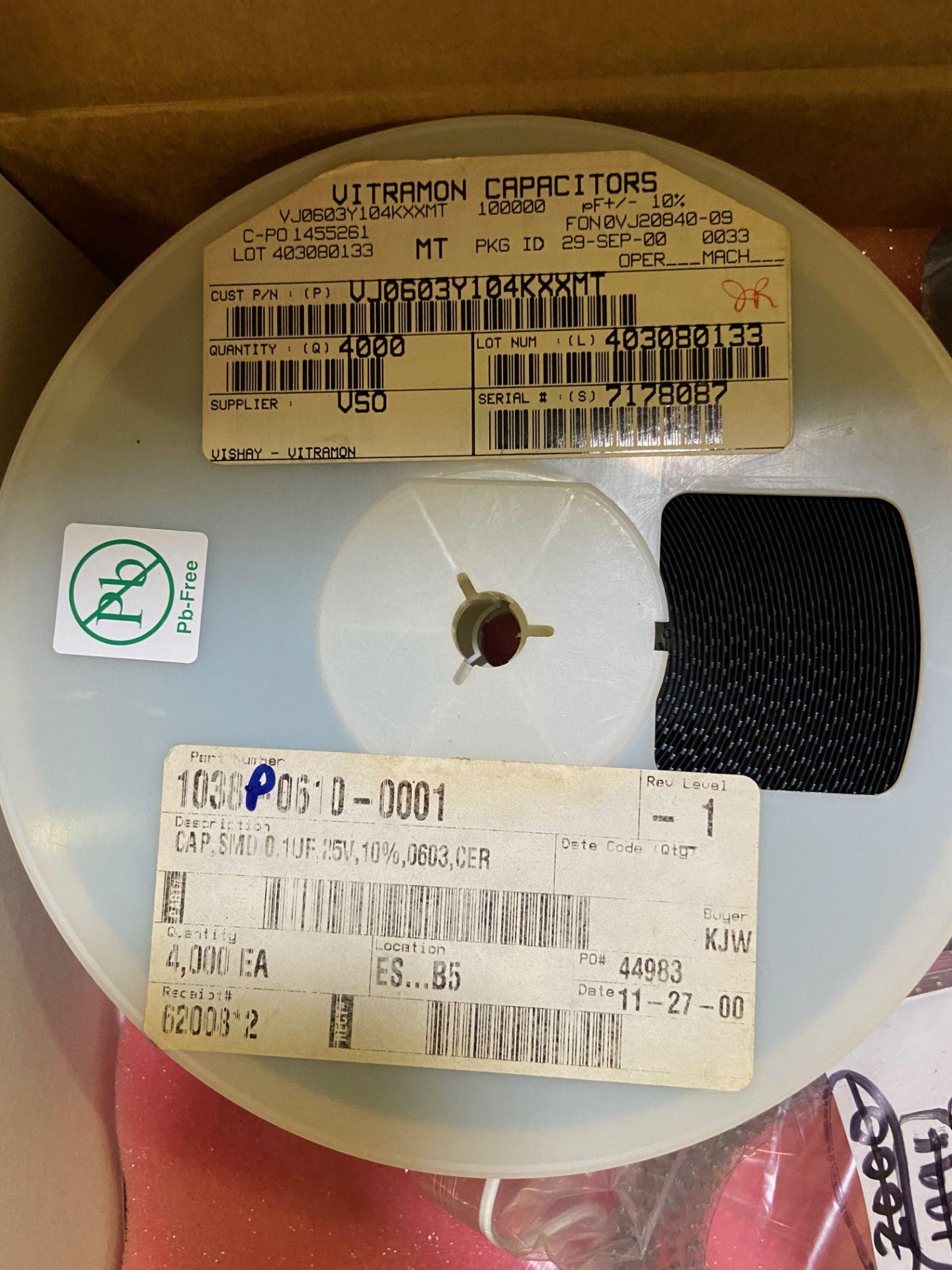 Vishay VJ0603Y104KXXMT, Cap Ceramic 0.1uF 25V X7R 10% Pad SMD 0603 150°C Automotive T/R, APROX QTY - Image 3 of 15