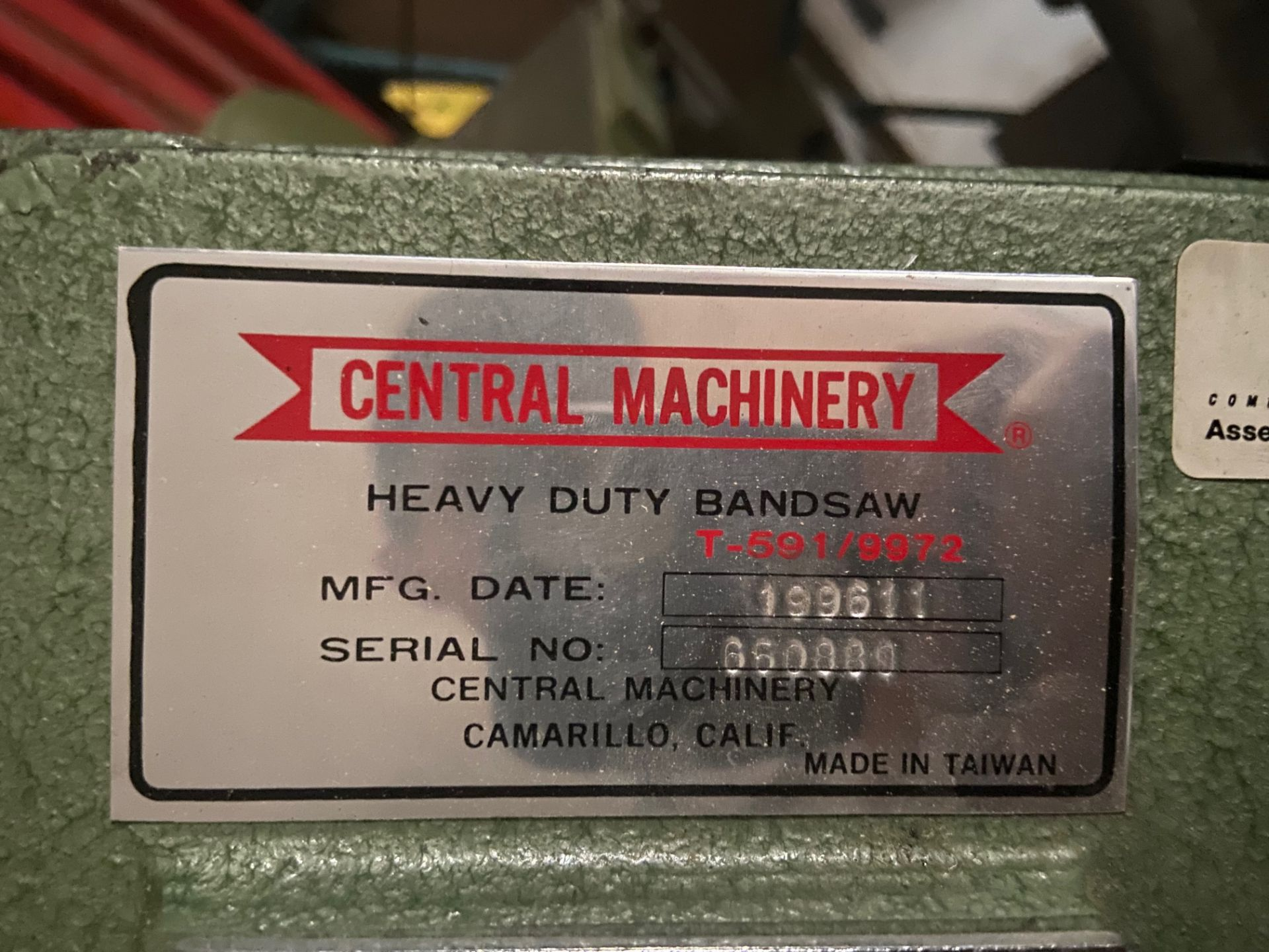Central Machinery Heavy Duty Bandsaw, Model# T-591/9972, Serial# 660880, Loading/Removal Fee: $25 - Image 2 of 5