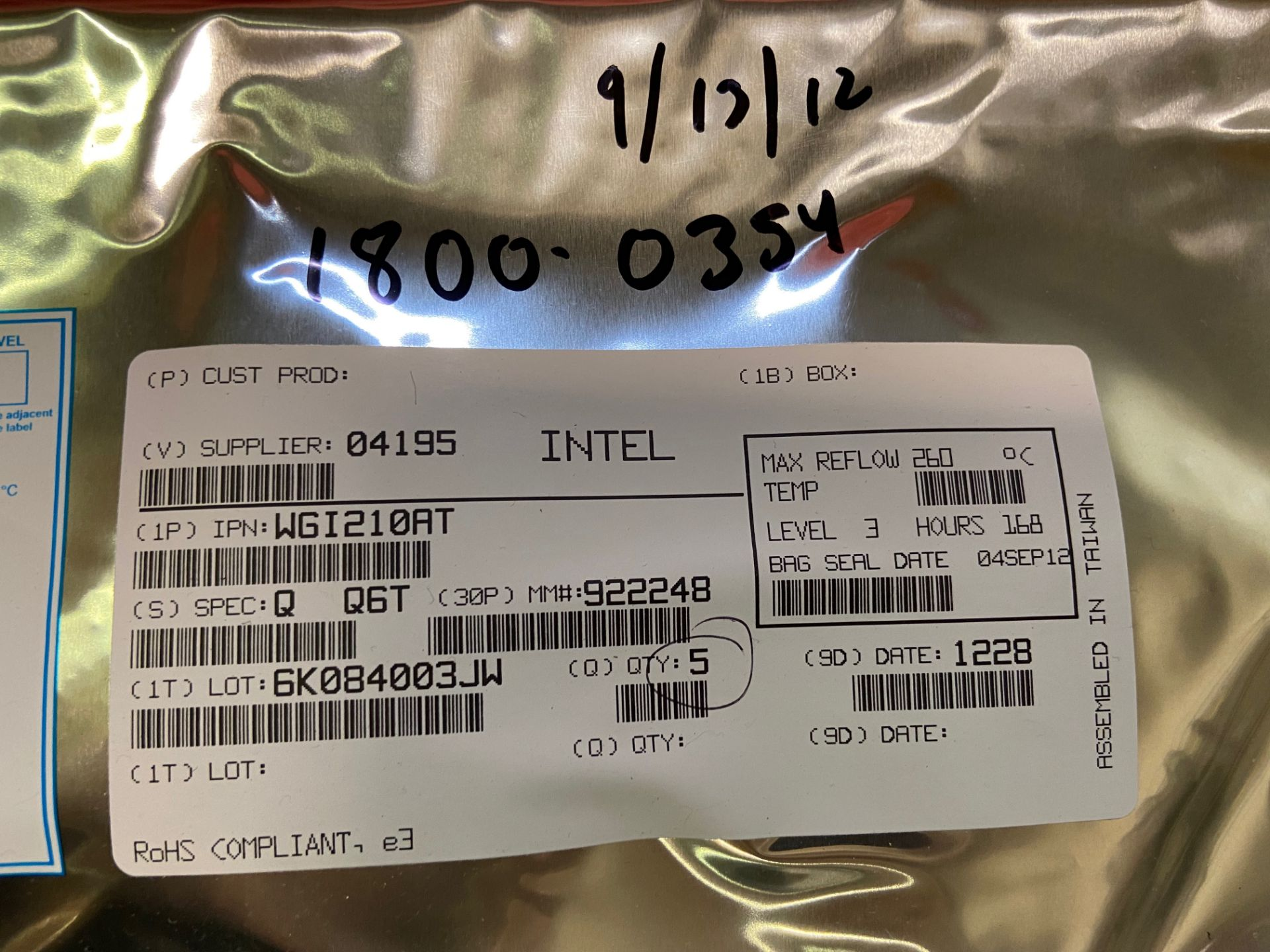 Intel WGI210AT Ethernet Controllers, QTY 5 - Image 2 of 3