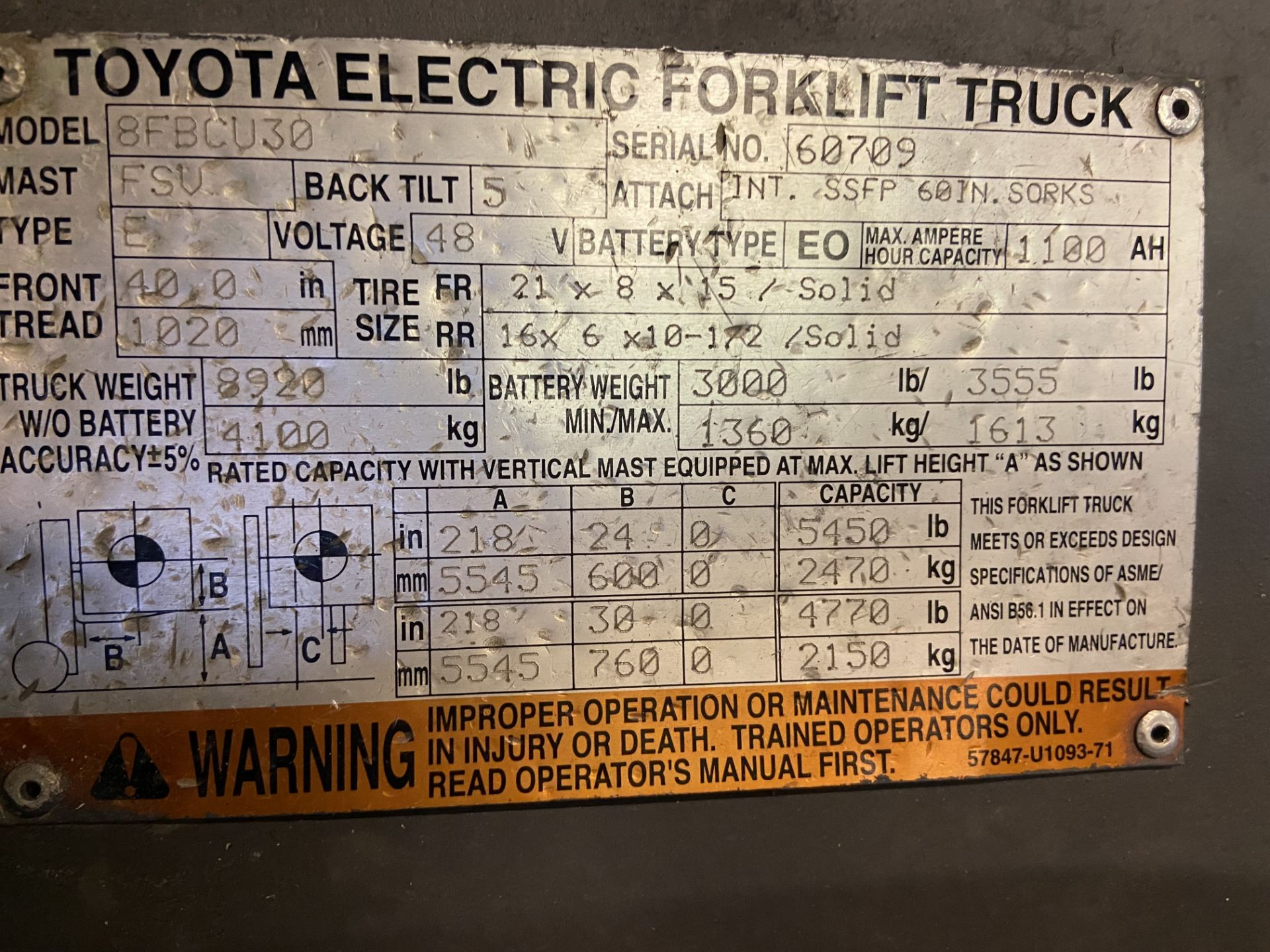 Toyota Electric Forklift Truck, Model# 8FBCU30, Serial# 60709, Truck Weight 8920 lbs, 12,273.2 - Image 3 of 7