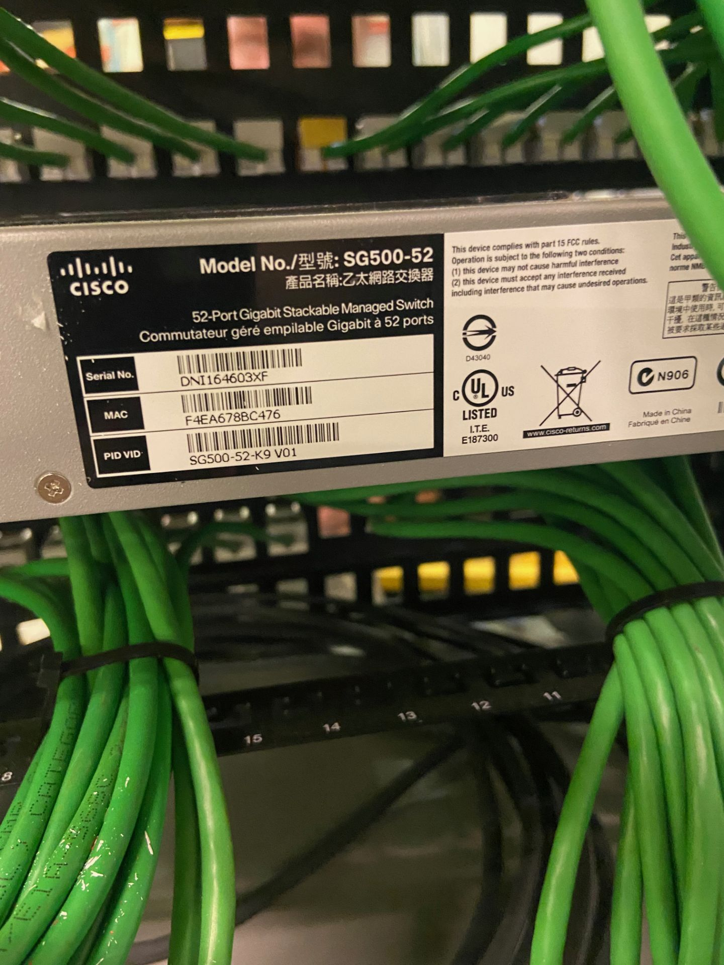 Lab Ethernet Connectivity Hub, SFP Interconnected, Qty 3: Cisco 52-Port Gigabit Stackable Manged - Image 10 of 12