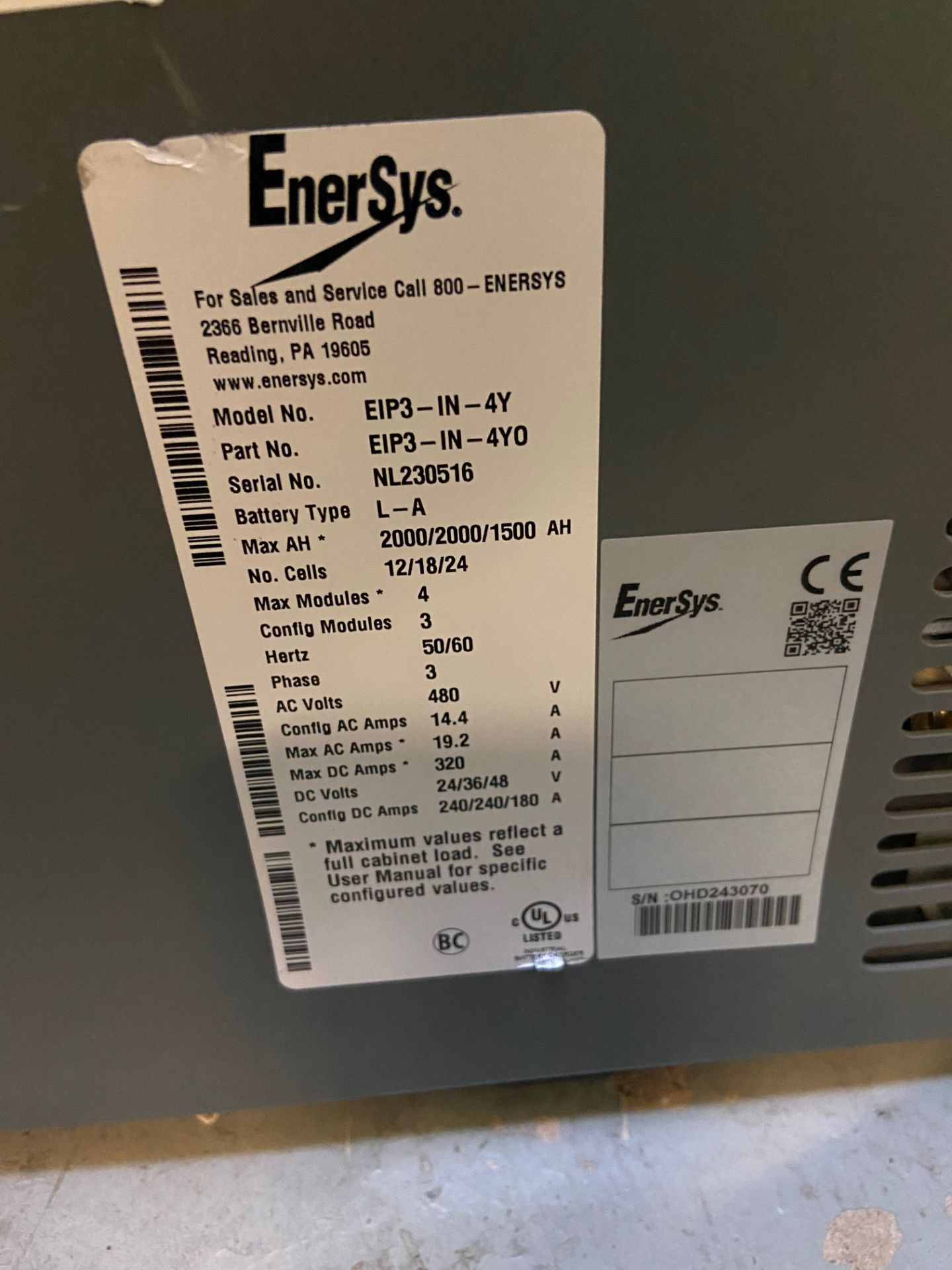 EnerSys Baterry Charger, Model# EIP3-IN-4Y, Serial# NL230516, 480V AC, 3 Phase, 24/36/48V DC, - Image 2 of 3
