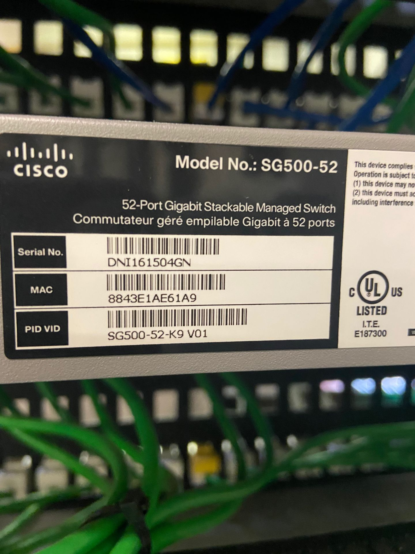 Lab Ethernet Connectivity Hub, SFP Interconnected, Qty 3: Cisco 52-Port Gigabit Stackable Manged - Image 8 of 12
