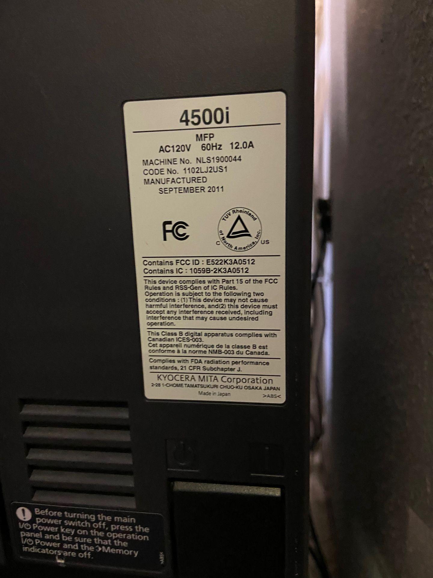 Kyocera TASKalfa 4500i Black and White Print/ Scan/ Copy System, Machine# NLS1900044, 120V, 60Hz, - Image 6 of 8