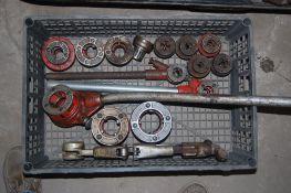 3 - Ridgid portable pipe threader plus extra heads 1/8 - 1/4 - 3/8 - 1/2 - 5/8 - 3/4 1 - 1-1/4 - 1-