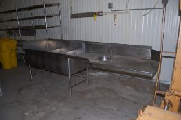 Large stainless sink 10 ft 4 inch x 35 inch x 36 inch 3 wells ***LOADING FEE OF: $ 50 will be