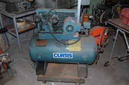 "Curtis air compressor on castors mod 3SA5-3 44x24x54"" 1 HP 240v 3 phase 20 gal tank ***LOADING FEE"