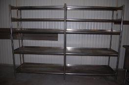 stainless steel drain shelving 10 ft long x 25 1/2 inch wide x 7 ft tall 5 shelves ***LOADING FEE