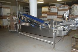 """Vegetable washer & conveyor w poly cleated 24 inch belt 208 / 460V 3ph motor SS 16"""" deep x 13 ft"""