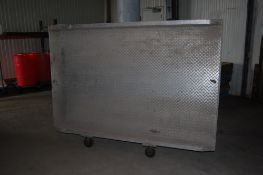 Aluminum dock plate 7 ft x 54 inch outside…. On castors excellent condition ***LOADING FEE OF: $