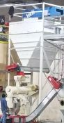Dallas, TX Large Bulktech sawdust bin with Rad auger and stand, new approx 2017 (torit collector and