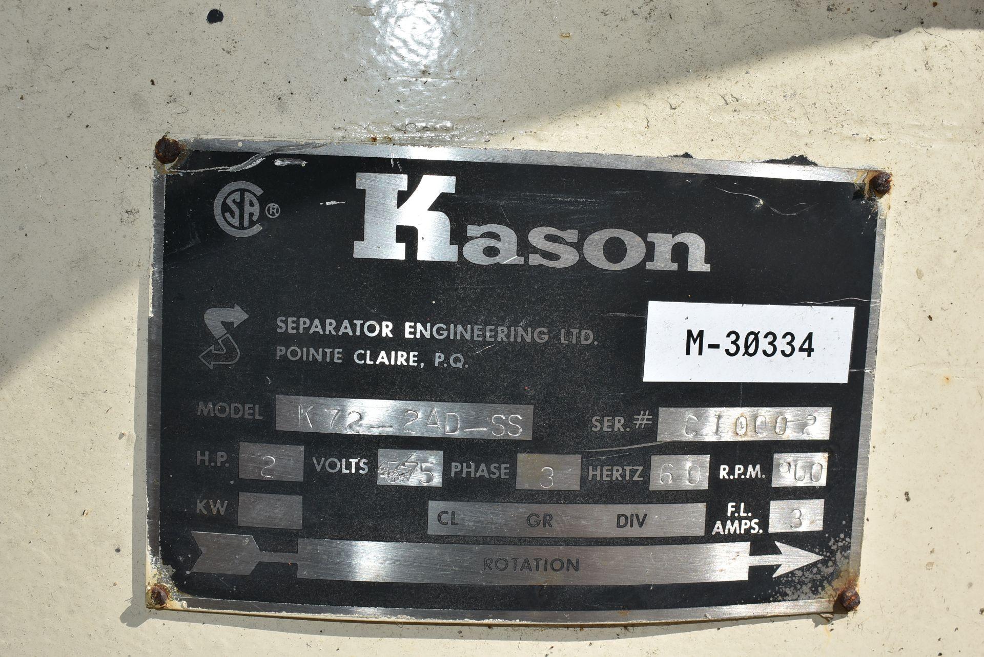 Kason Model #K72-2AD-SS Vibratory Separator - Image 2 of 2