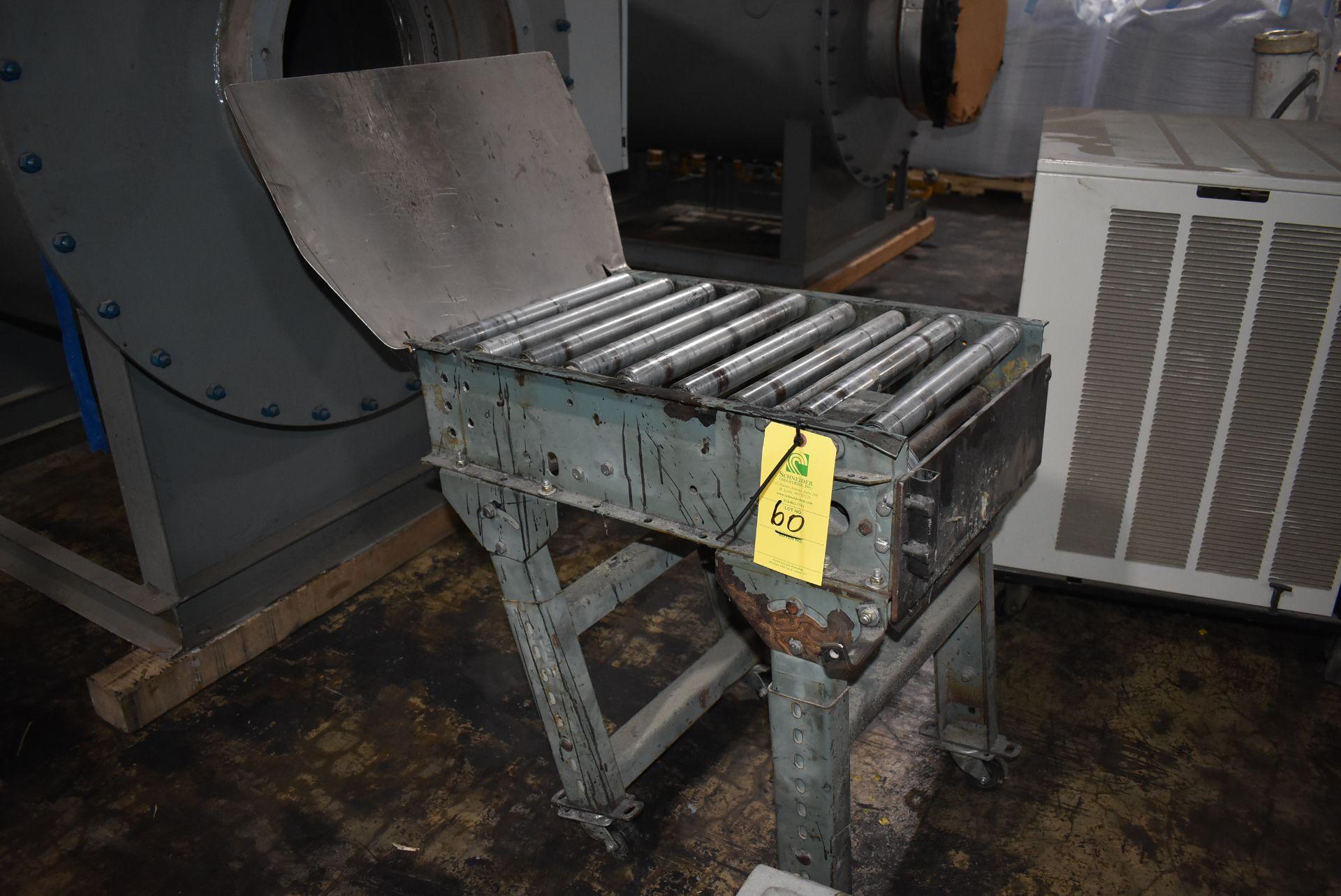 "Roller Conveyor, 24"" Length x 15"" Wide Rollers, Adjustable Leg Base"