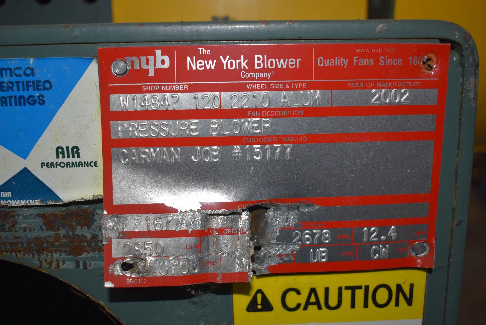 New York Blower, Wheel Size 2210 Aluminum w/15 HP Motor - Image 2 of 3