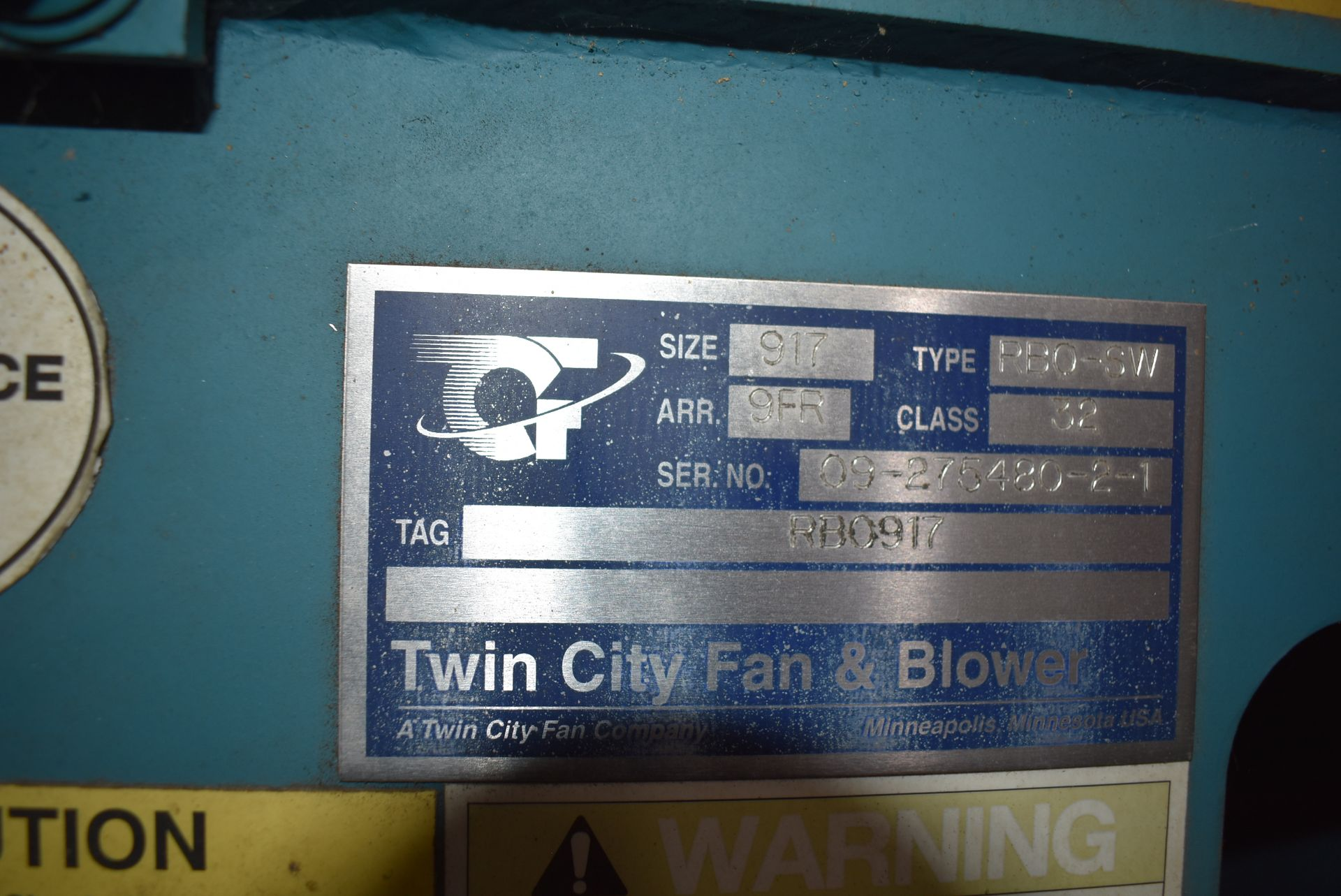 Twin City Type RBO-SW Blower, Size 917 w/30 HP Motor - Image 2 of 3