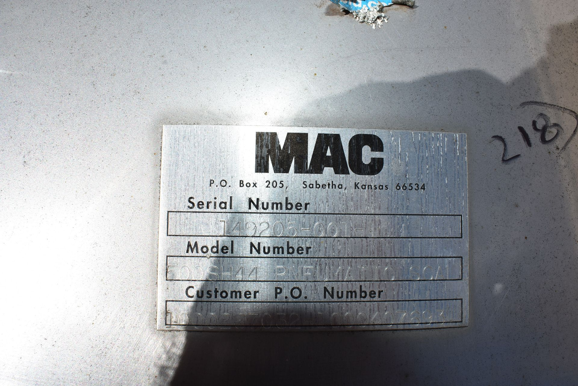 MAC Model #500SH44 Pneumatic Scale - Image 2 of 2