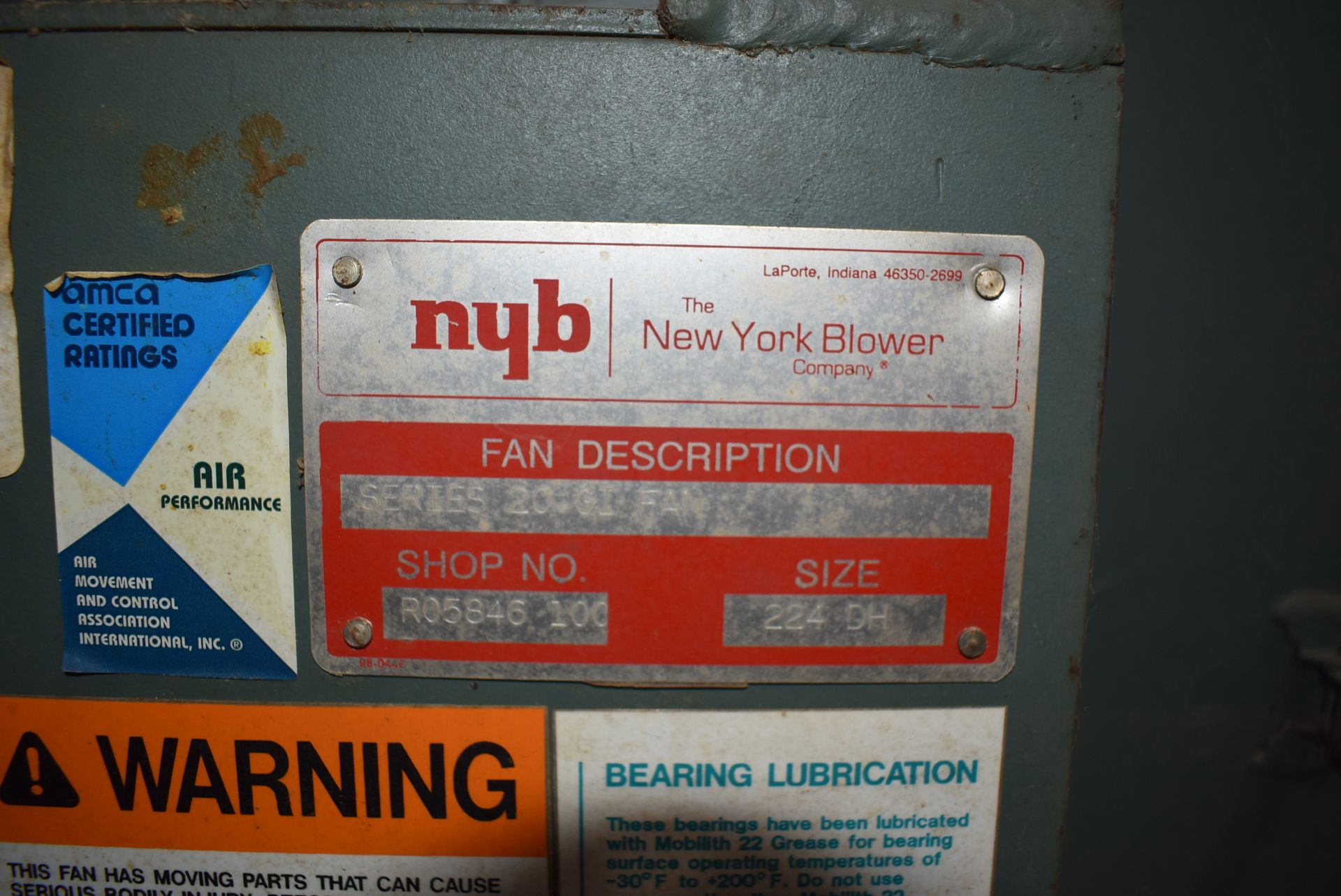 New York Blower, Series 20GI Fan, Size 224-DH, Does Not Include Motor - Image 2 of 4