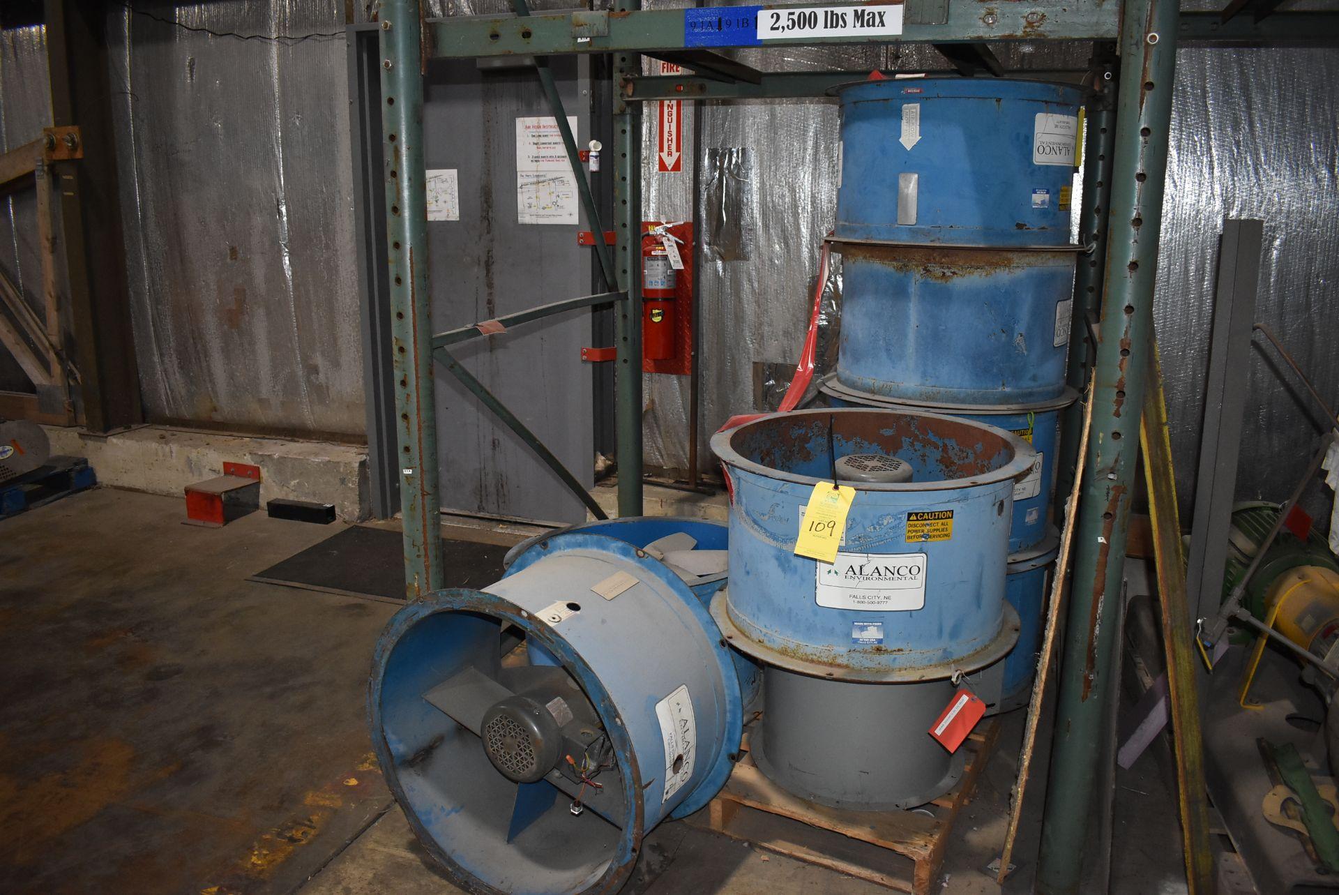 "Qty. (7) Alanco Environmental 24"" Fans w/2 HP Motors, Qty. (1) Dayton #4C66 Fan w/ 1/2 HP Motor"