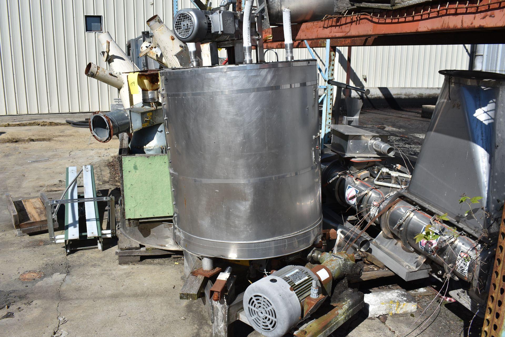 "Stainless Steel Tank, 30"" Diameter x 36"" Top - Flat Bottom, 3 HP Motor & Pump, Includes Mixer"