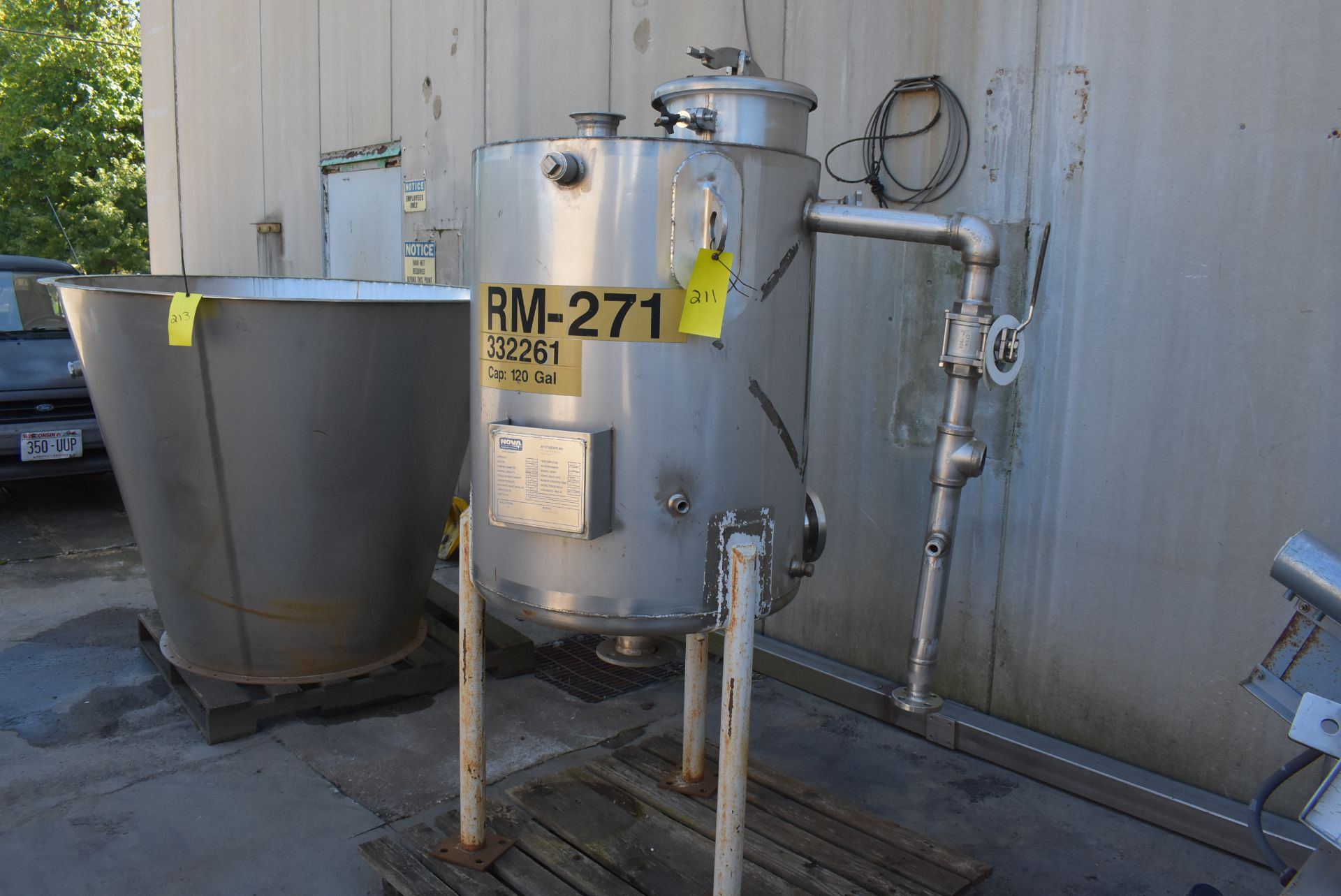 Nova Stainless Steel Tank, Rated 120 Gallons, 3' Height