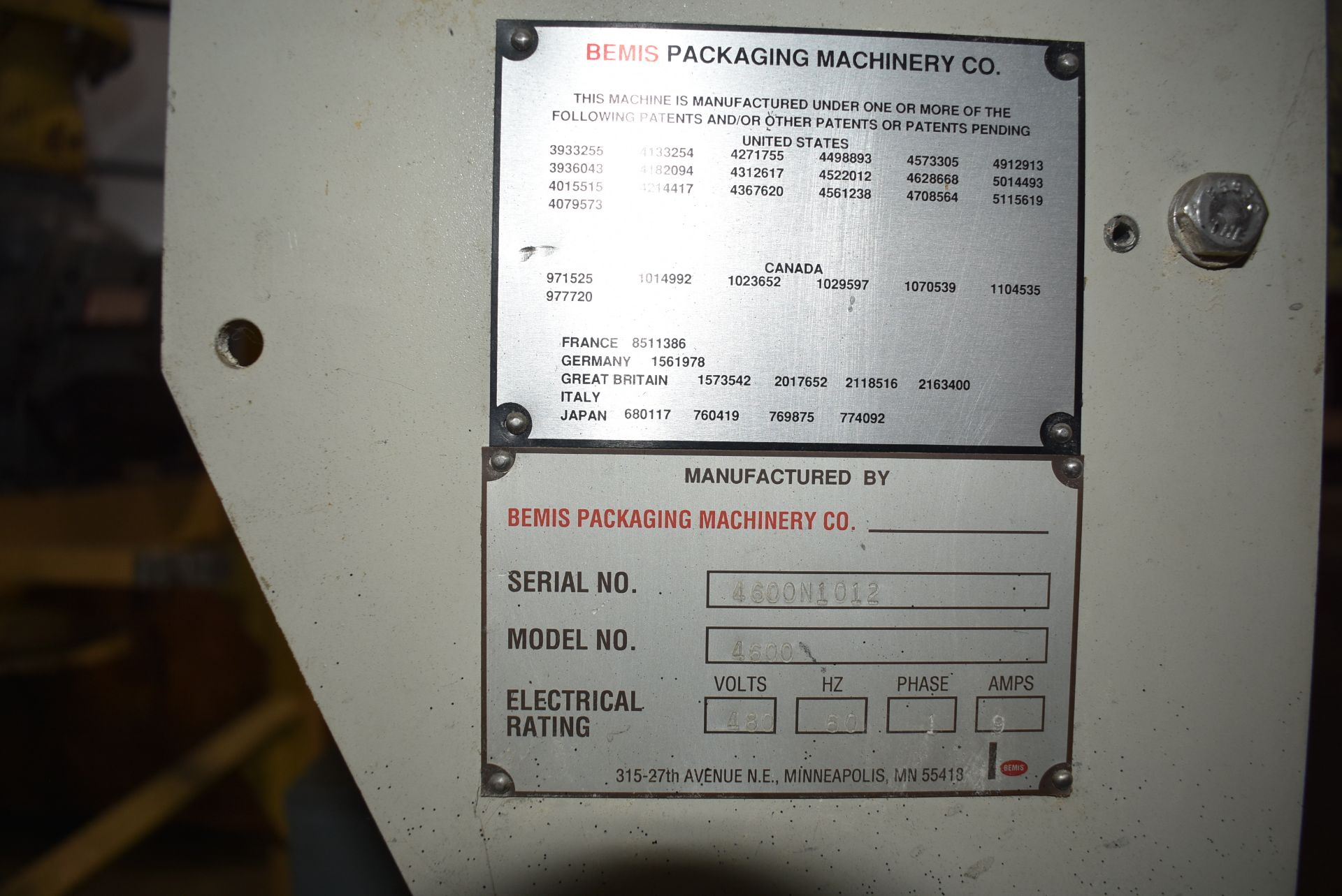 Bemis Model #4600 Packaging Machine - Image 2 of 3