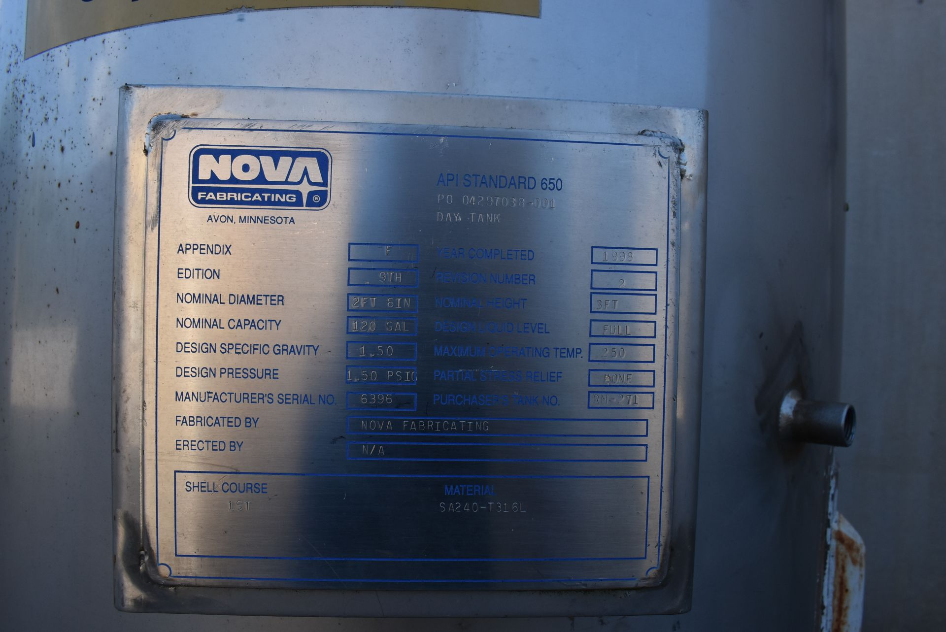 Nova Stainless Steel Tank, Rated 120 Gallons, 3' Height - Image 2 of 4