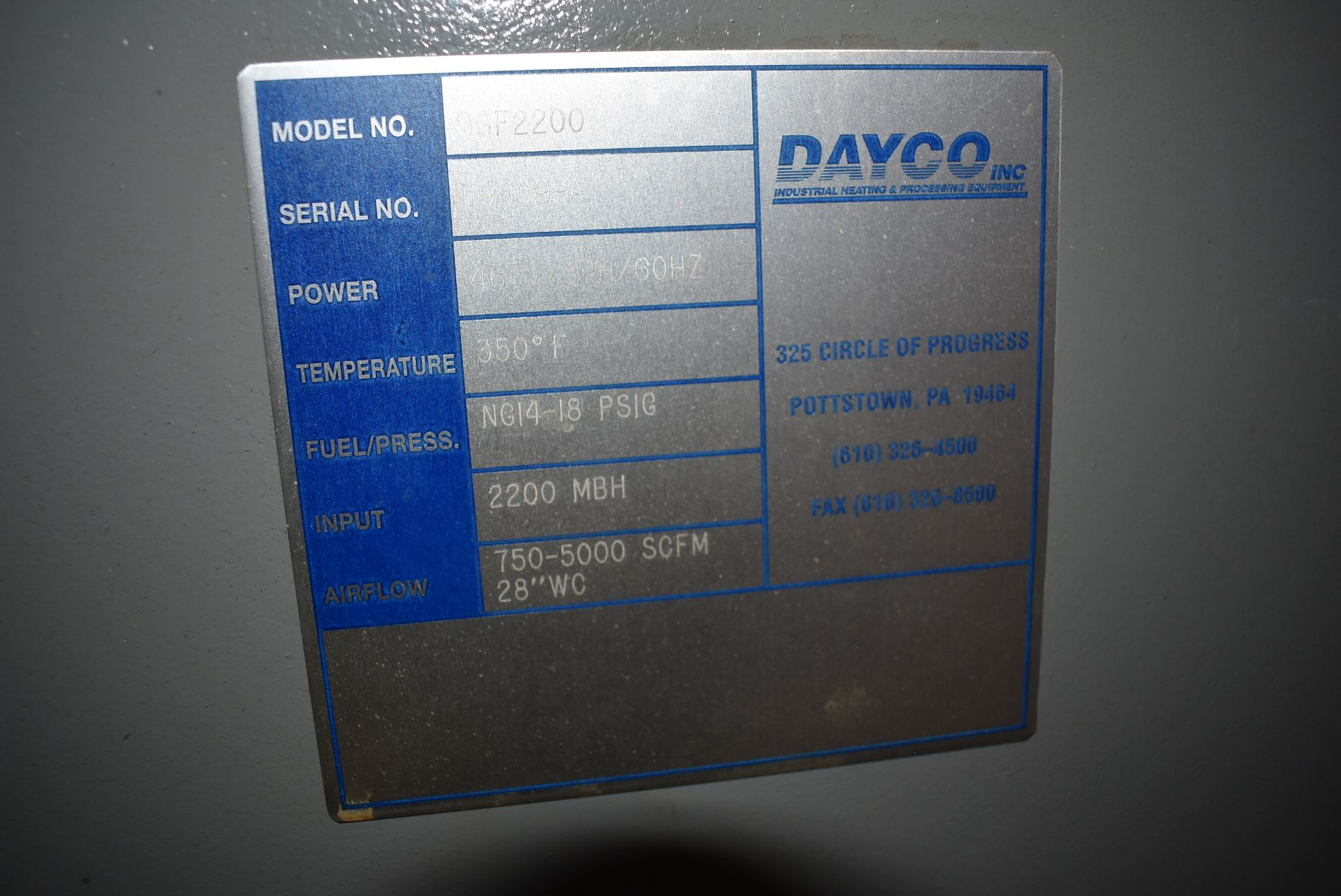 Dayco Model #DFG2200 Direct Fire Handling Unit, SN 119609-A - Image 2 of 5