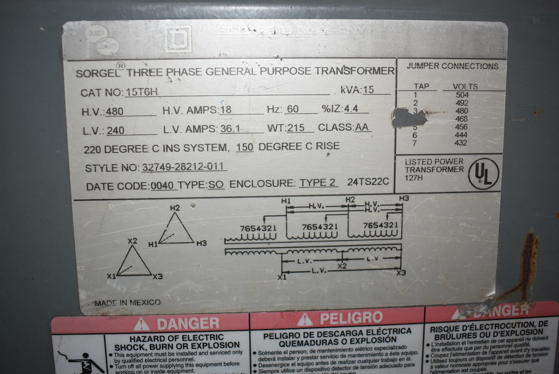 Square D Transformer, Catalog 15T6H, Rated 15 KYA - Image 2 of 2