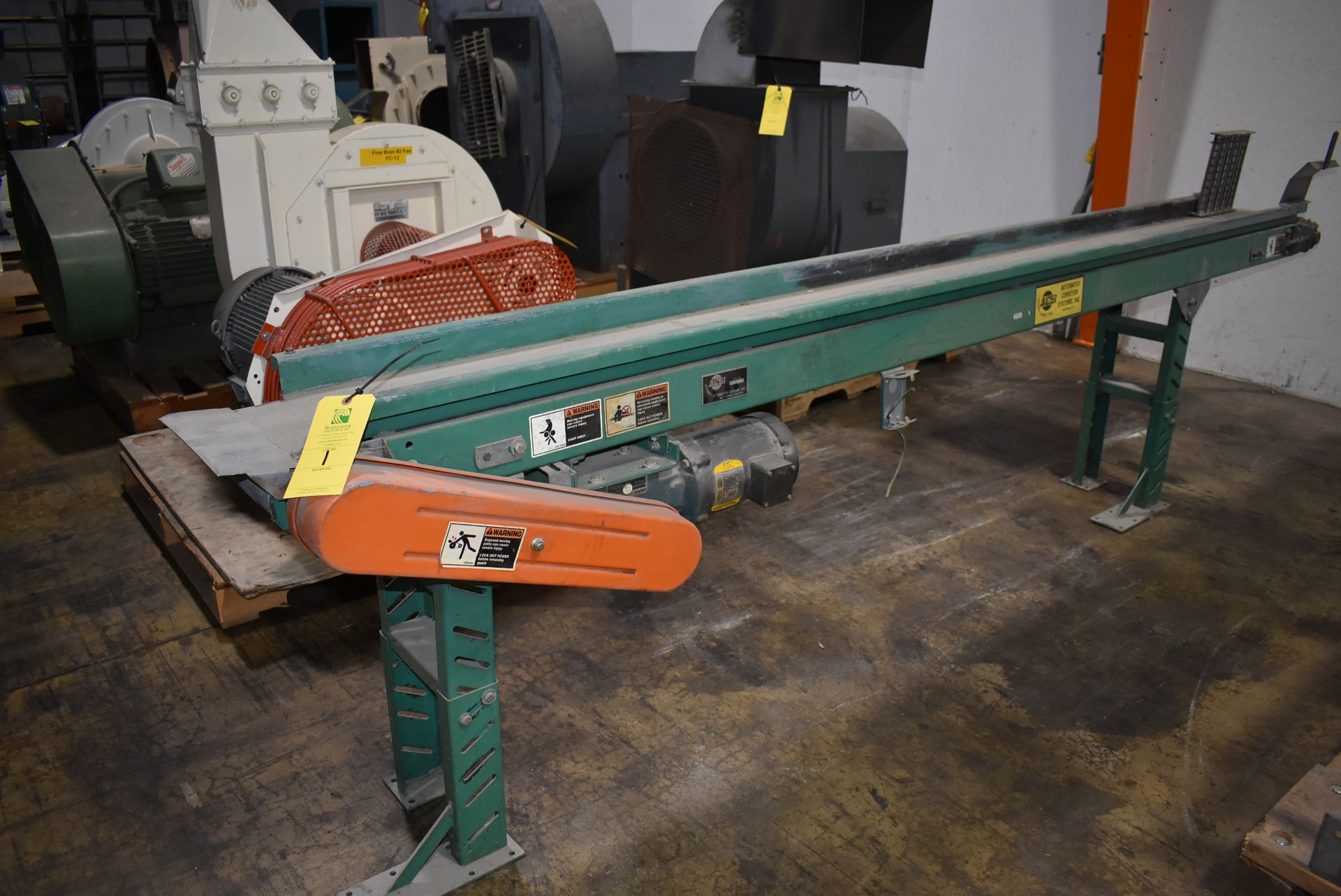 "Automated Conveyor Systems, Motorized Belt Conveyor, 8"" Wide Belt x 10' Length, Adjustable Leg Base"