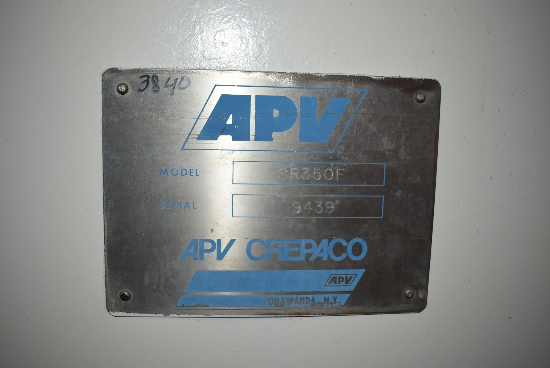 APV/Crepaco Model #SR350F Heat Exchanger, SN 19439 - Image 2 of 3