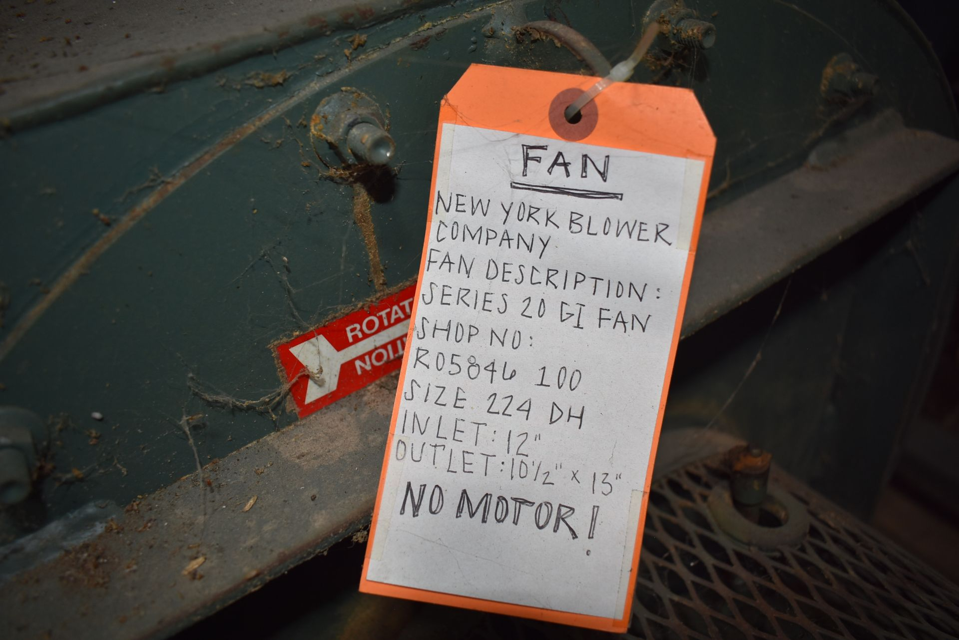 New York Blower, Series 20GI Fan, Size 224-DH, Does Not Include Motor - Image 3 of 4