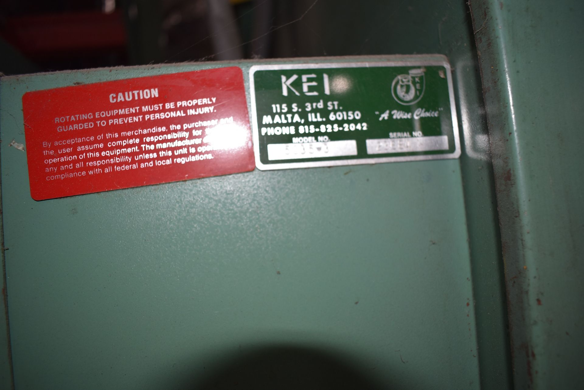 KEI Model #5035-3 Dust Collection System, Steel Leg Base - Image 2 of 2