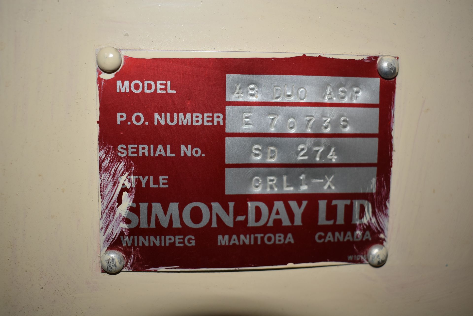 Simon Day Model #48 Duo Aspirator, SN SD 275, Style CRLI-X - Image 3 of 4