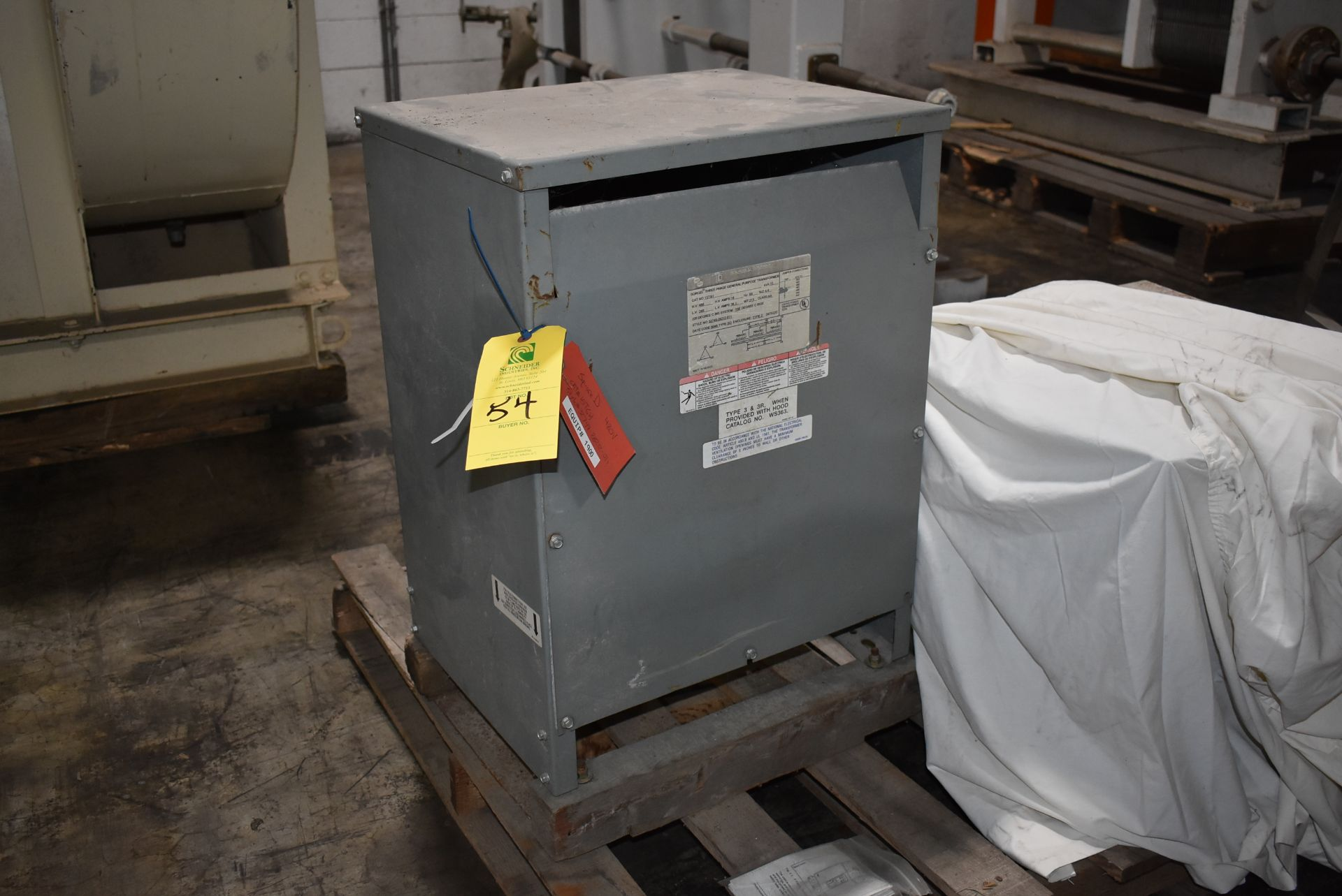 Square D Transformer, Catalog 15T6H, Rated 15 KYA