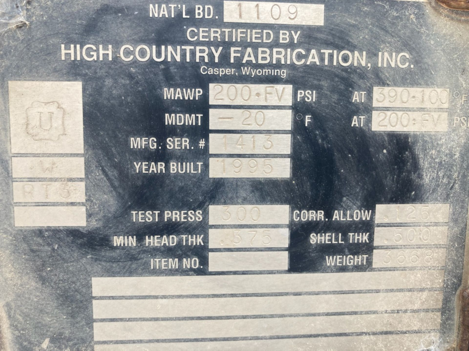 High Country Fabrication Tank National Board Number 1109 - Approximate 500 Gallons - Image 2 of 2