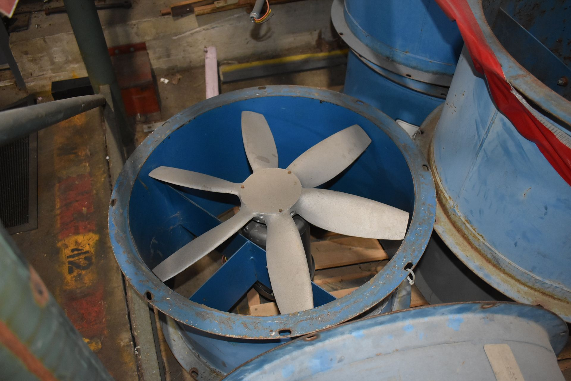 "Qty. (7) Alanco Environmental 24"" Fans w/2 HP Motors, Qty. (1) Dayton #4C66 Fan w/ 1/2 HP Motor - Image 3 of 3"