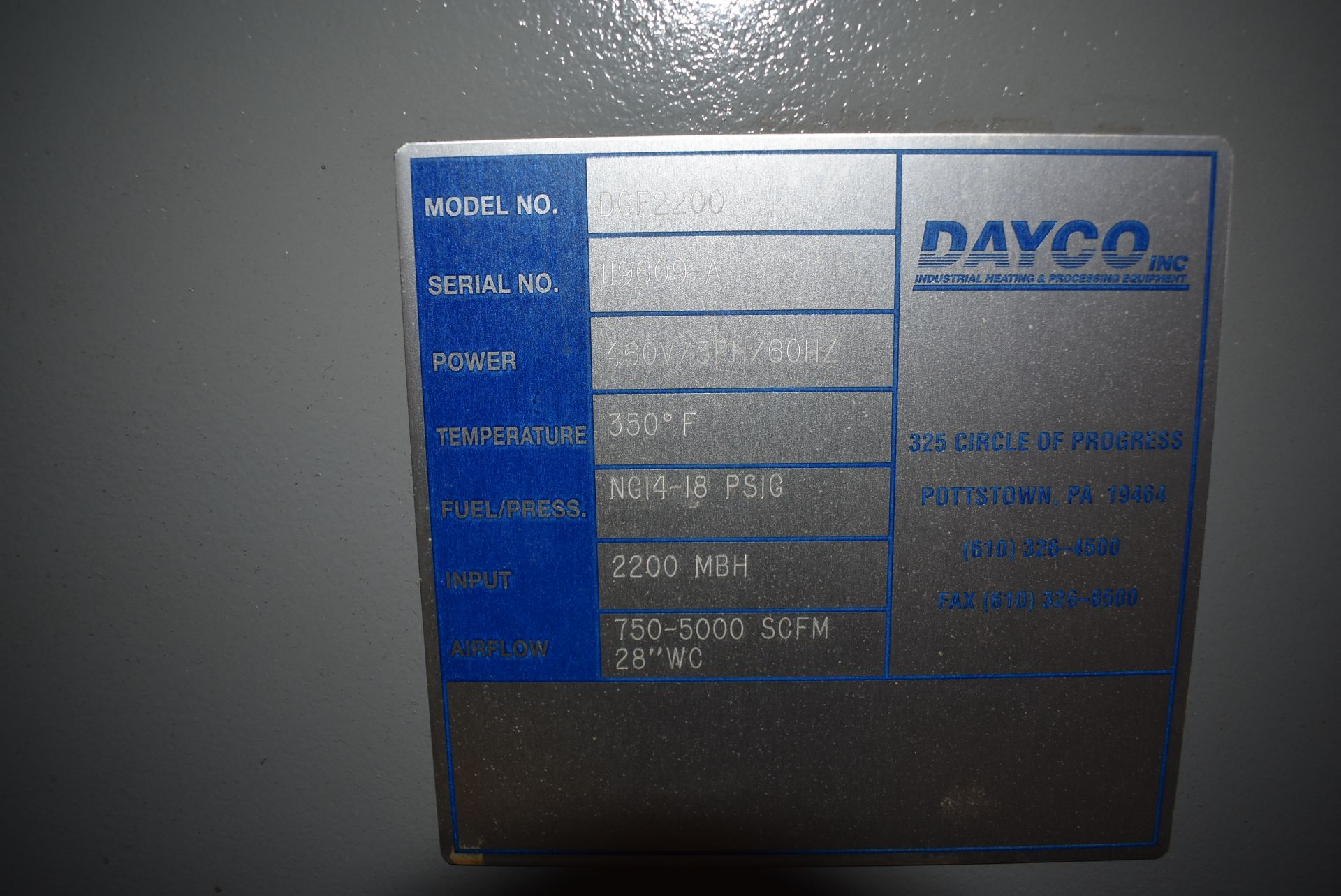 Dayco Model #DFG2200 Direct Fire Handling Unit, SN 119609-A - Image 3 of 5