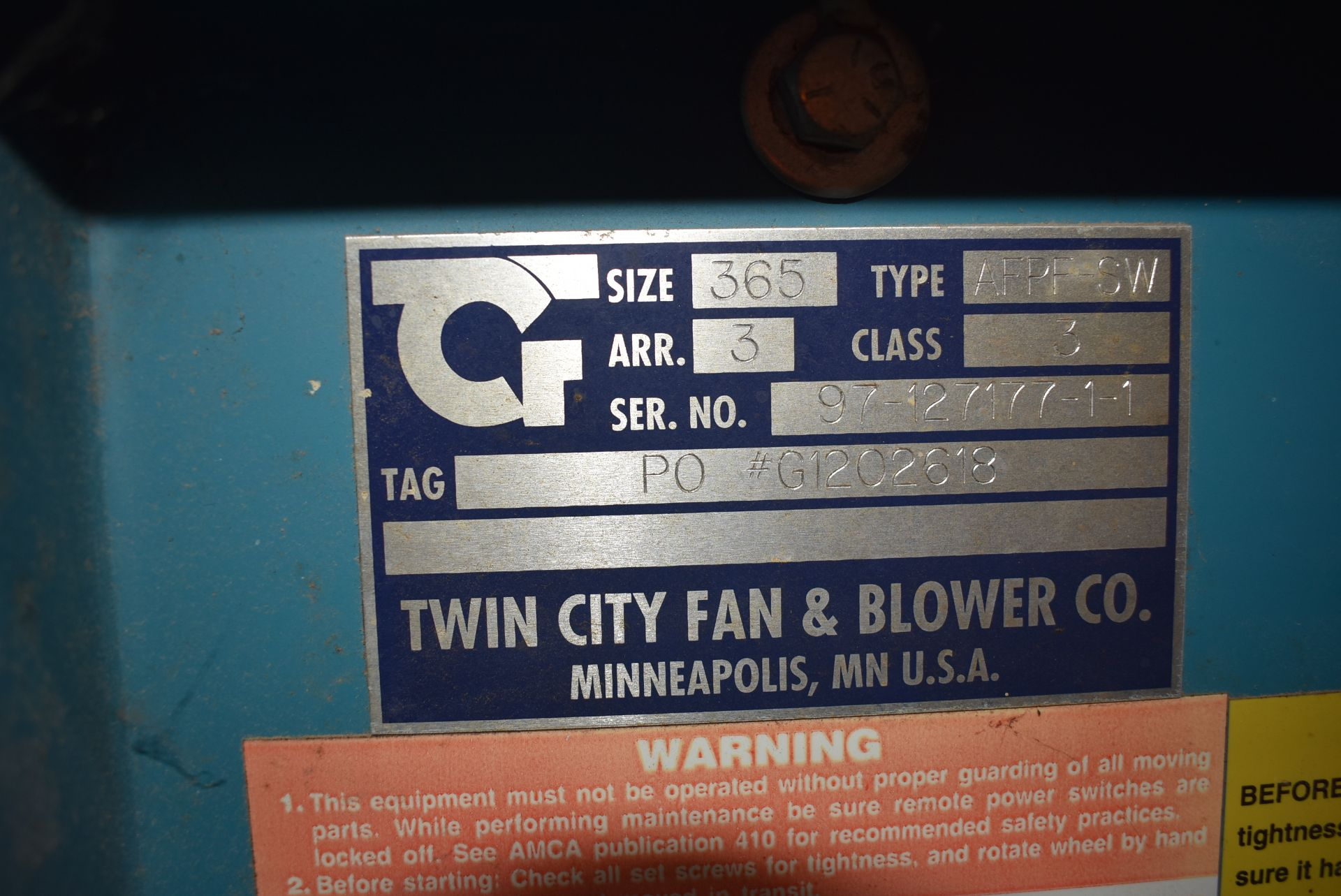 Twin City Type AFPP-SW Blower, Size 36 w/Enclosure - Image 2 of 4