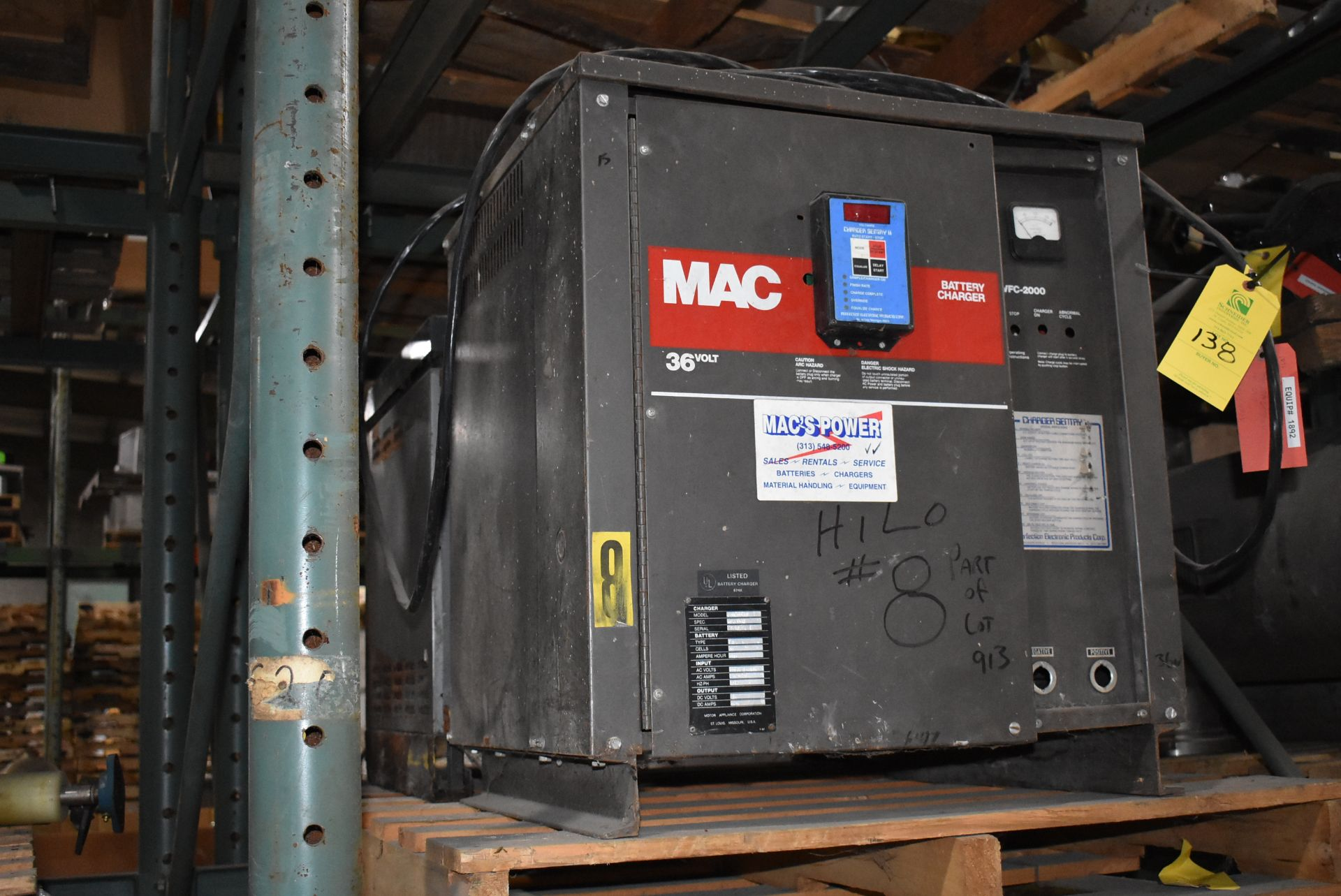Mac Model #VFC-2000 Electric Battery Charger, 18 Cell/26 Volt, Includes GNC 36 Volt Battery Charger