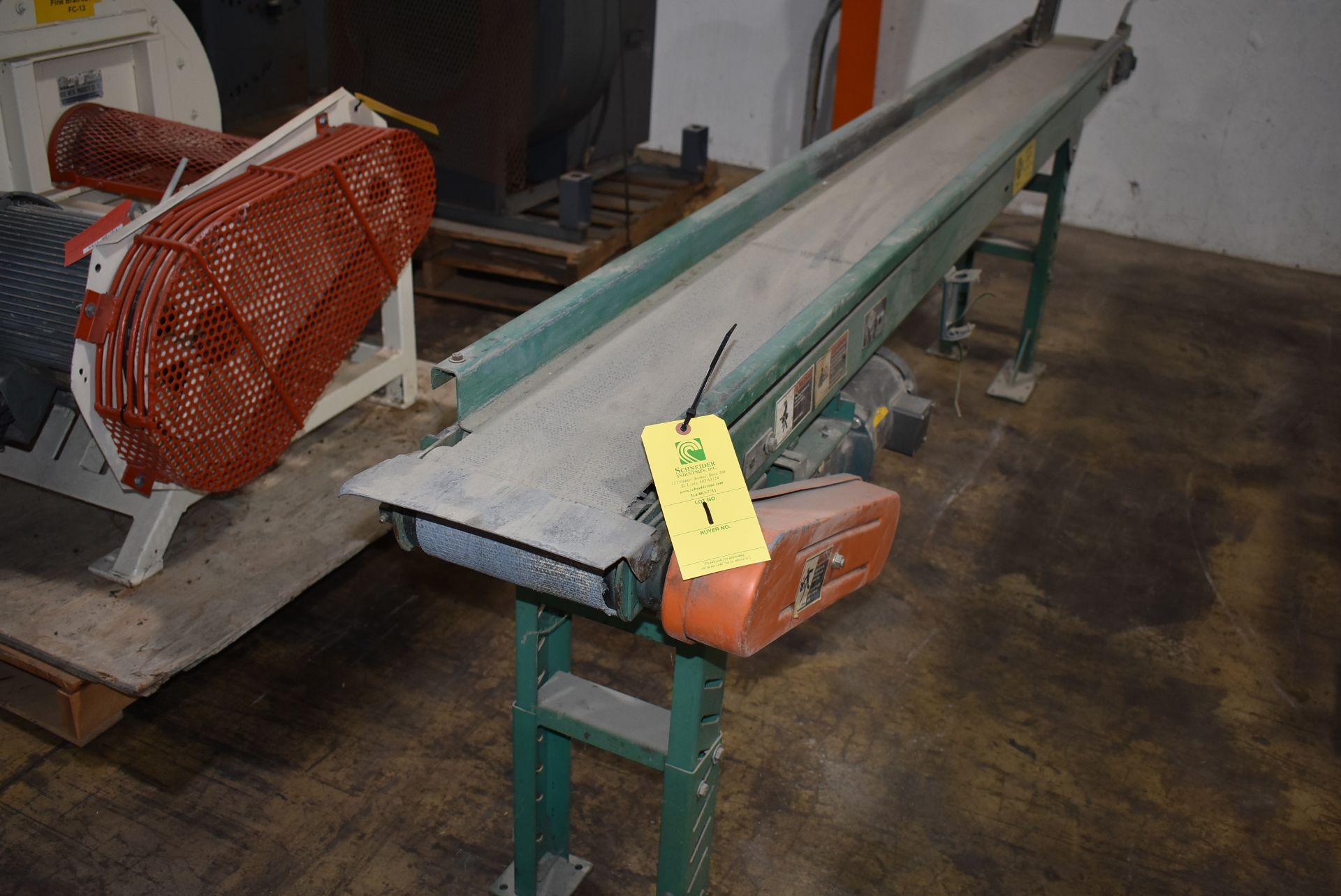 "Automated Conveyor Systems, Motorized Belt Conveyor, 8"" Wide Belt x 10' Length, Adjustable Leg Base - Image 2 of 2"
