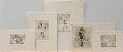 Konvolut5 erotische Radierungen3 x Horst Schmedemann/ 1 x Winfried Wolk/ 1 x Unbek